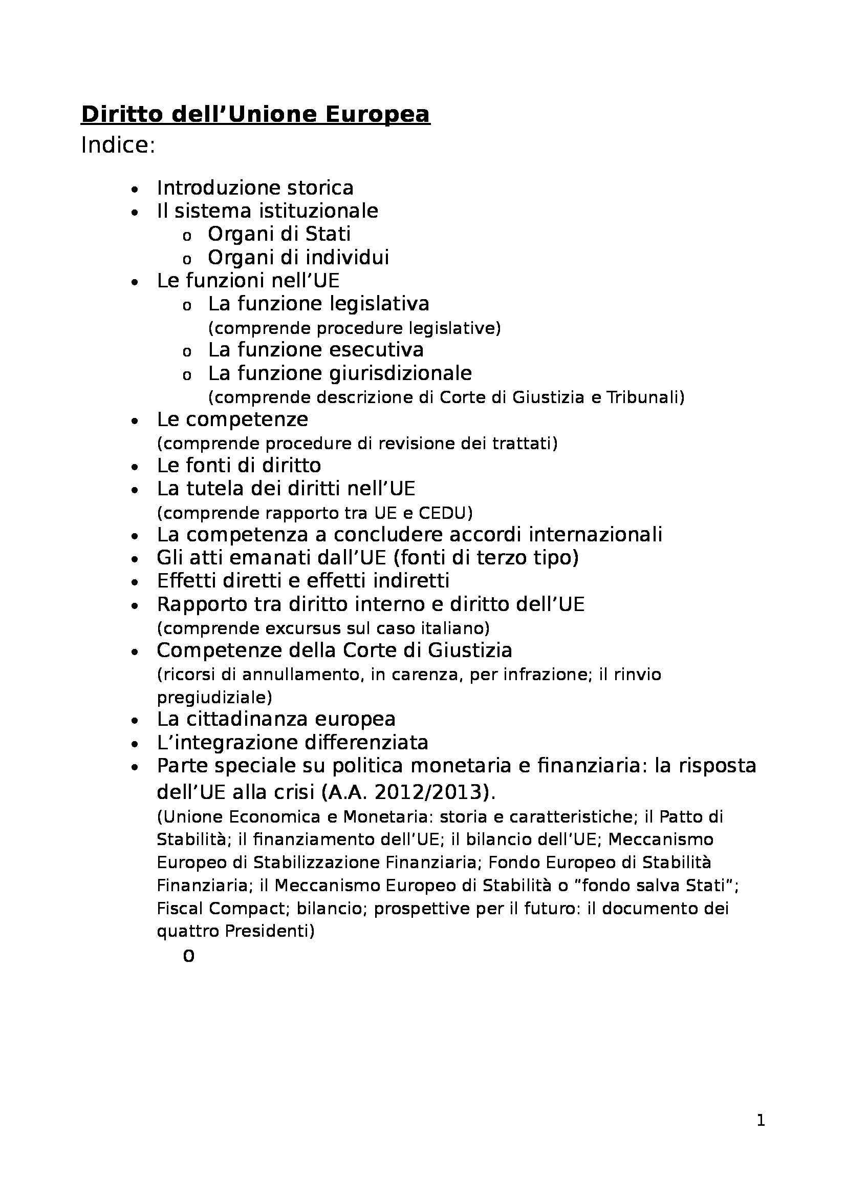 Diritto dell'Unione Europea - Appunti