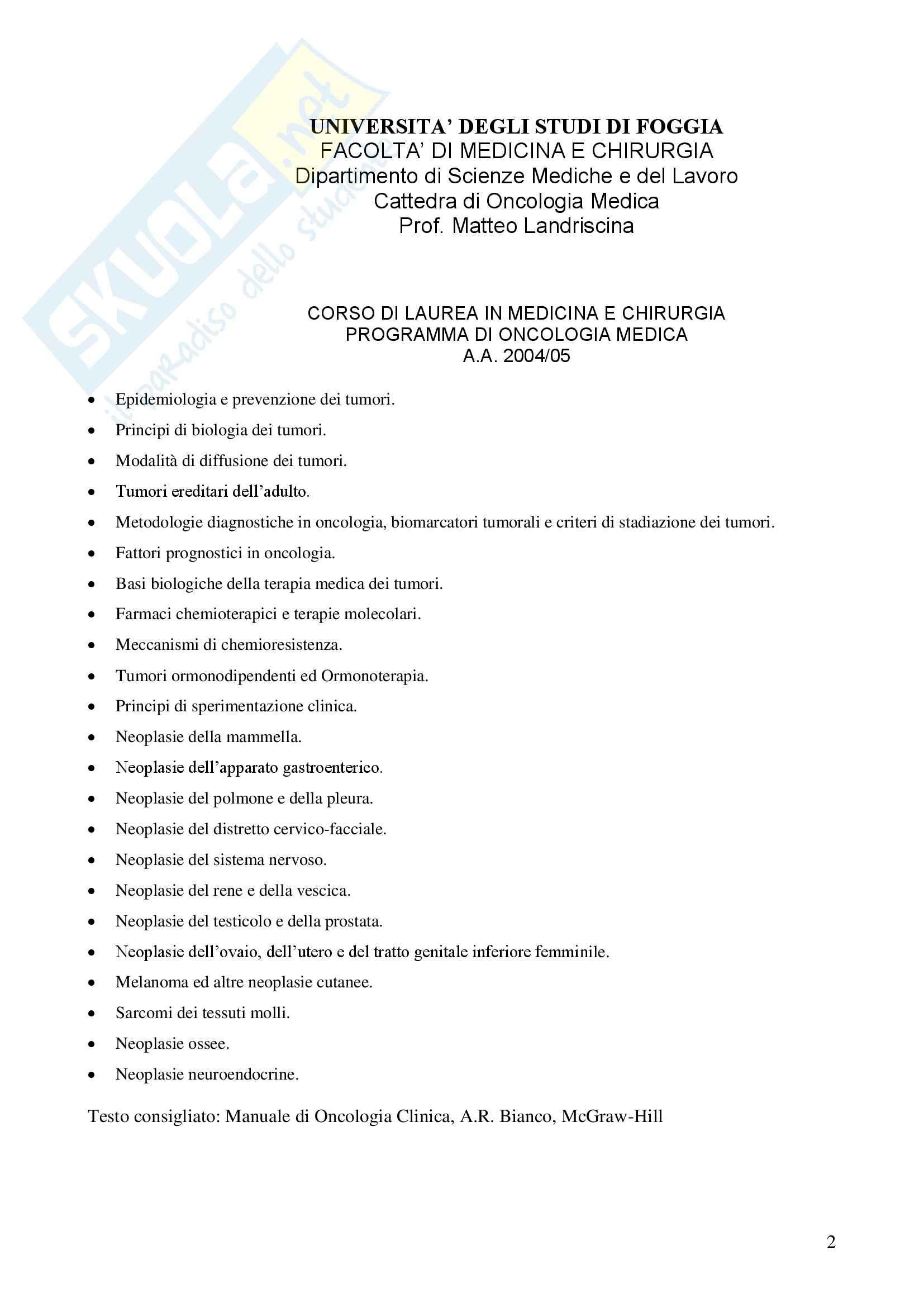 Oncologia Clinica - Dispensa Oncologia Medica-Clinica Pag. 2