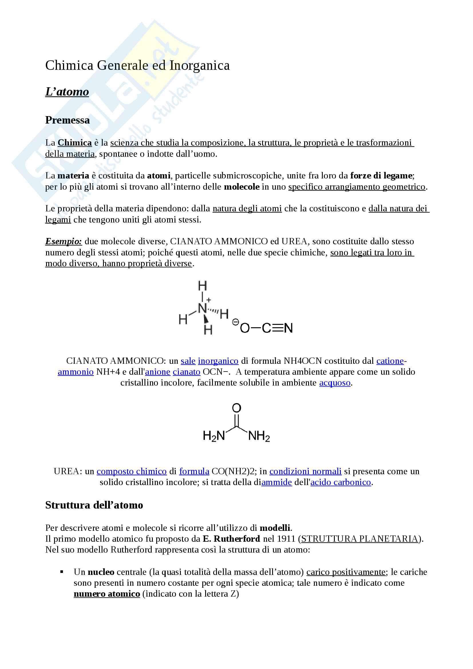 L'atomo, nozioni fondamentali