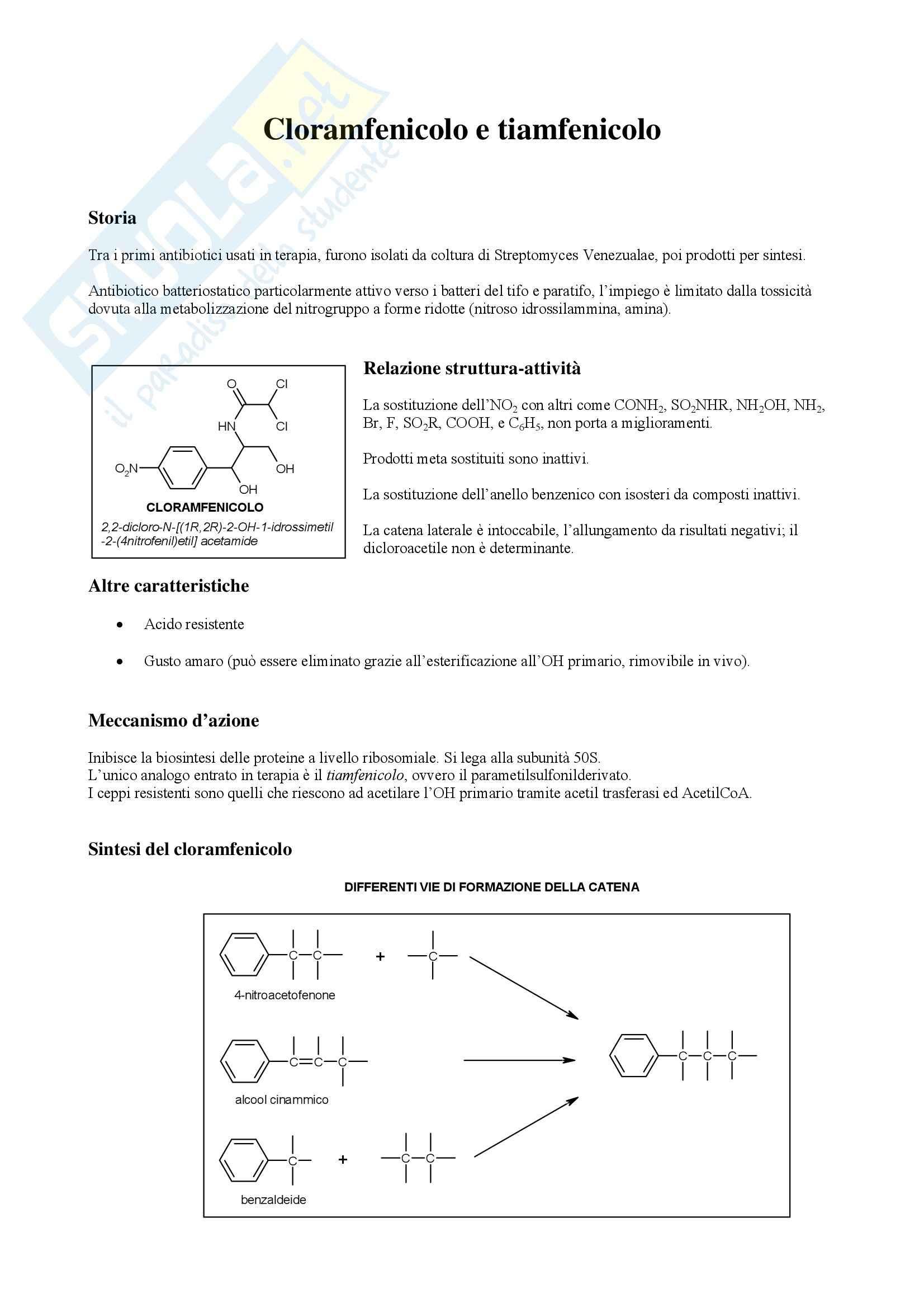 Chimica farmaceutica e tossicologica - cloramfenicolo e tiamfenicolo