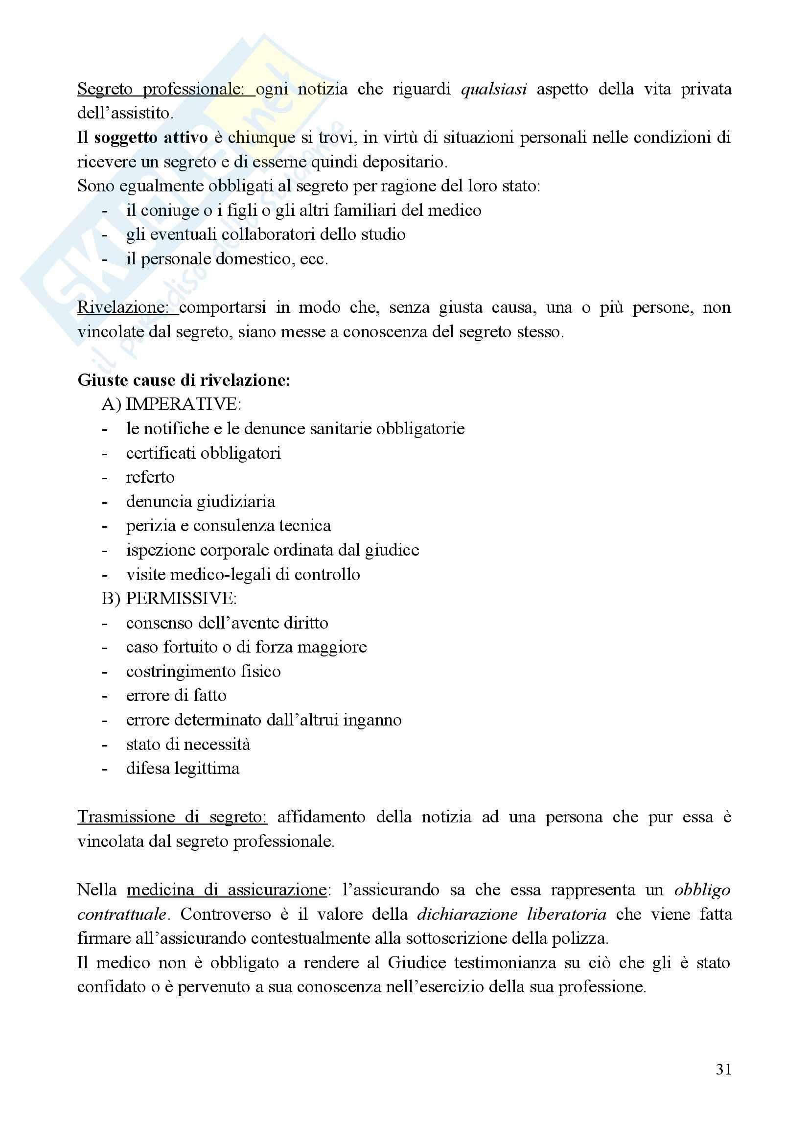 Medicina legale e delle Assicurazioni - il metodo med-legale Pag. 31