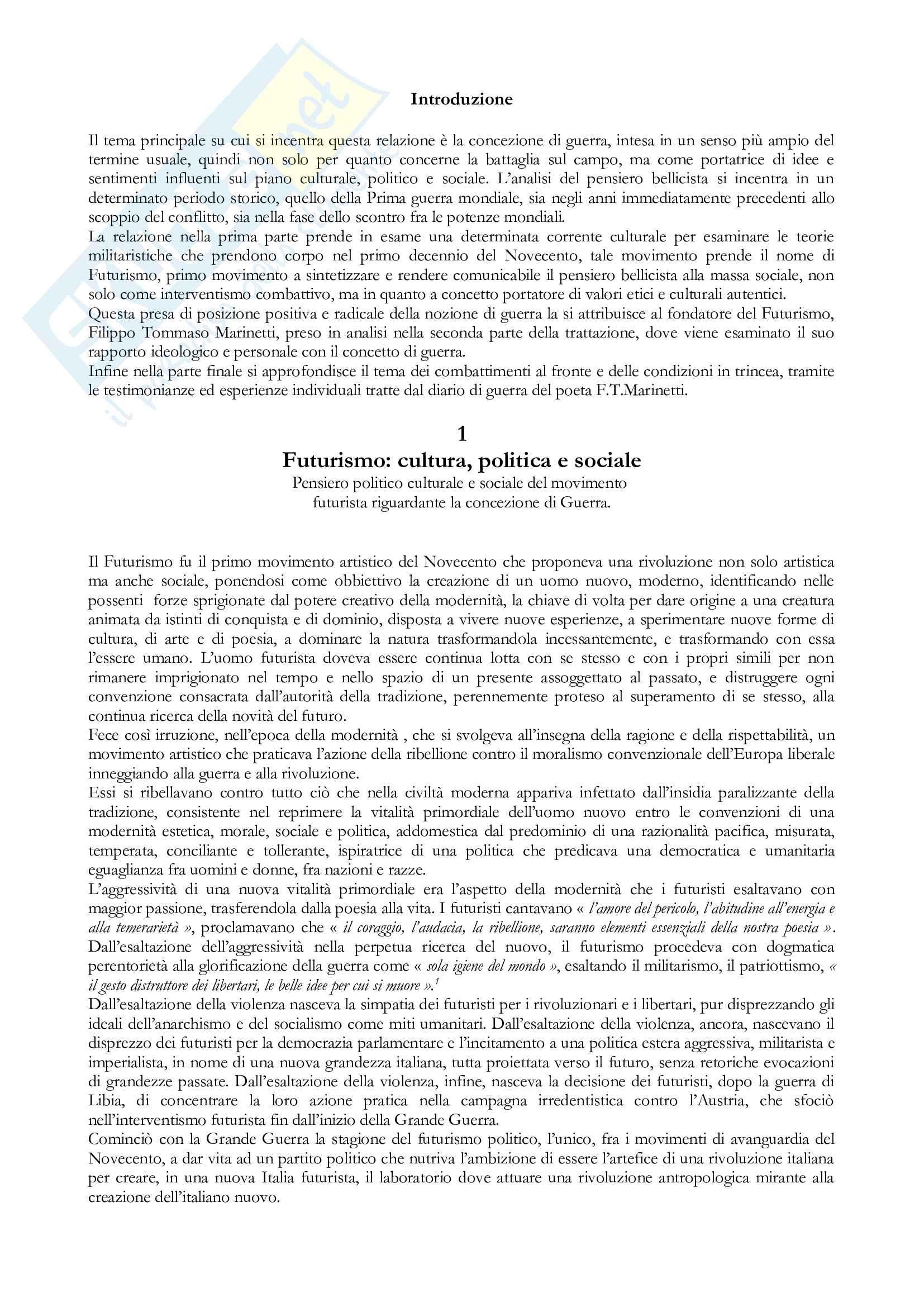 Tesi Futurismo e Filippo Tommaso Marinetti Pag. 2