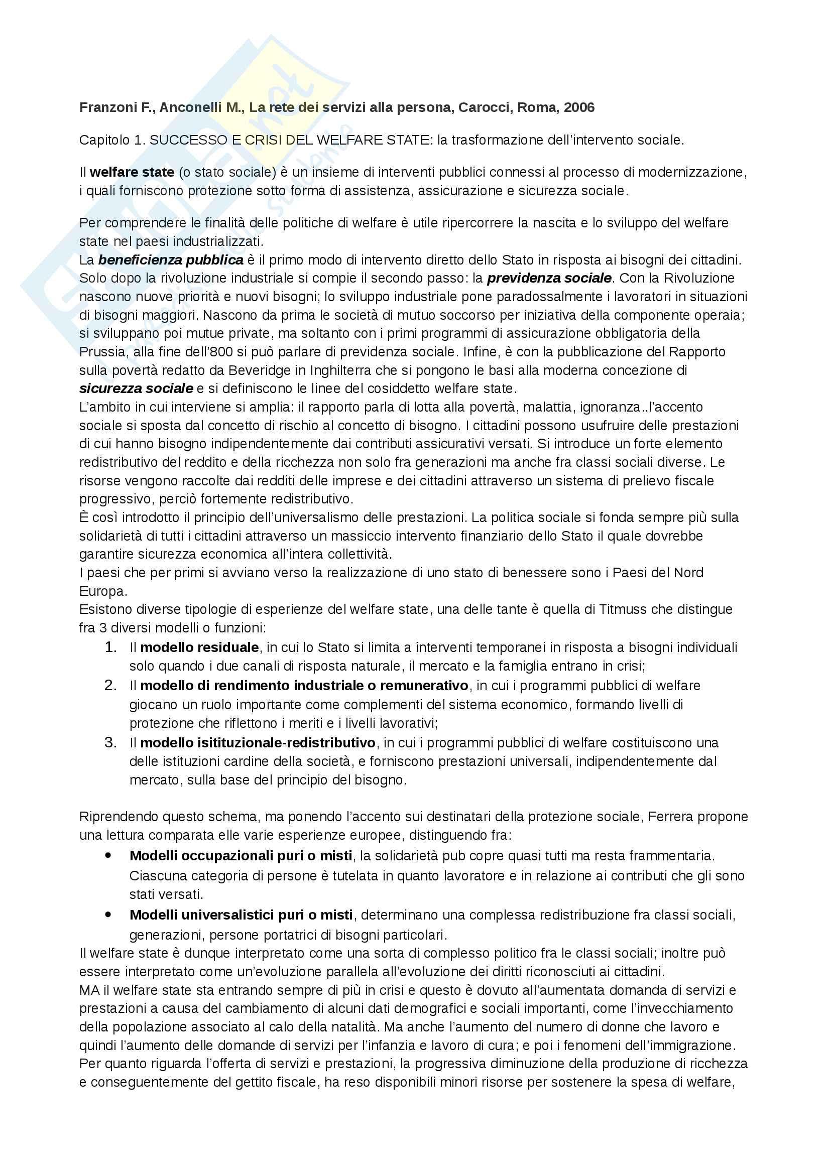 Riassunto esame Politiche sociali, libro consigliato La rete dei servizi alla persona, Carocci editore
