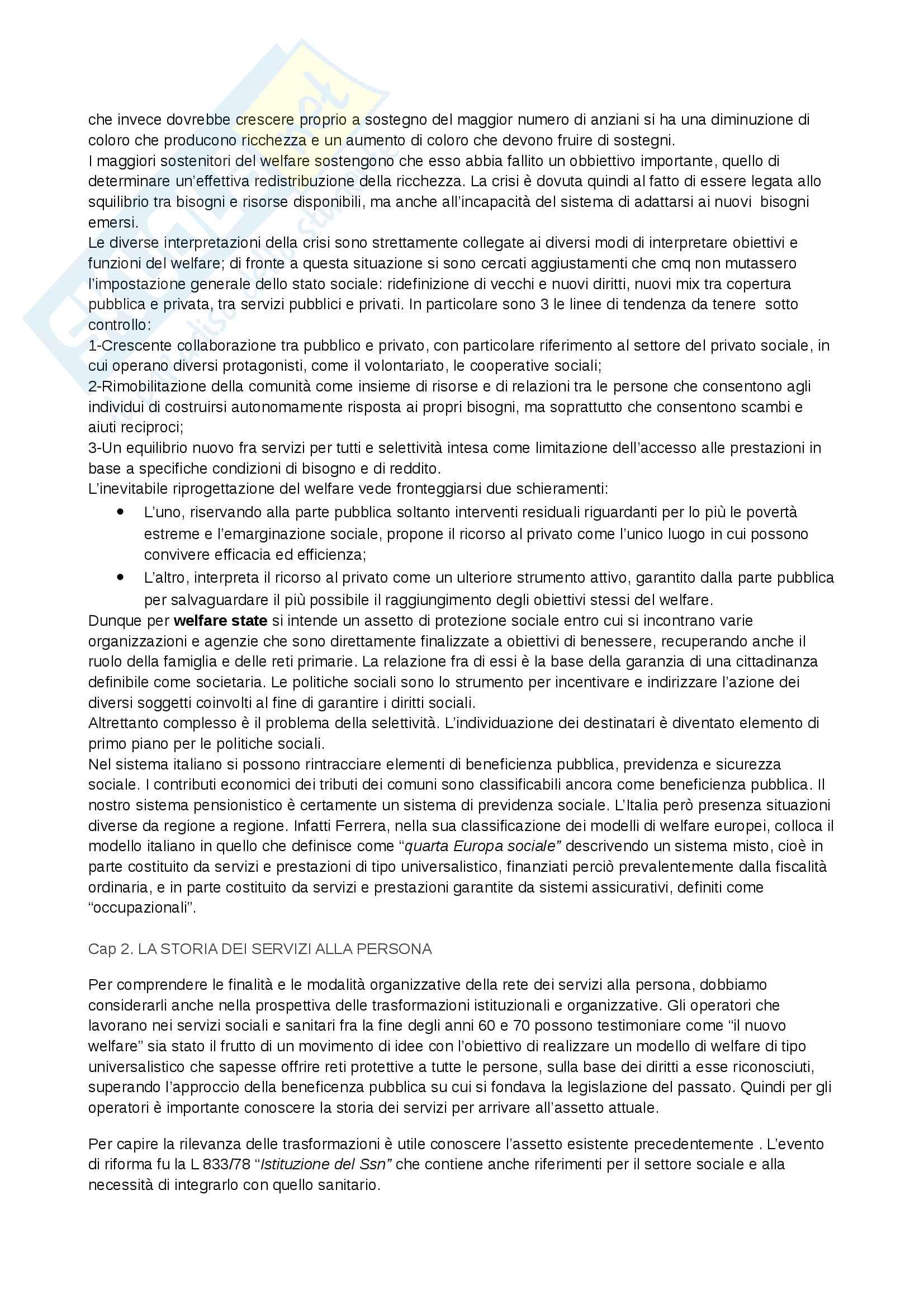 Riassunto esame Politiche sociali, libro consigliato La rete dei servizi alla persona, Carocci editore Pag. 2