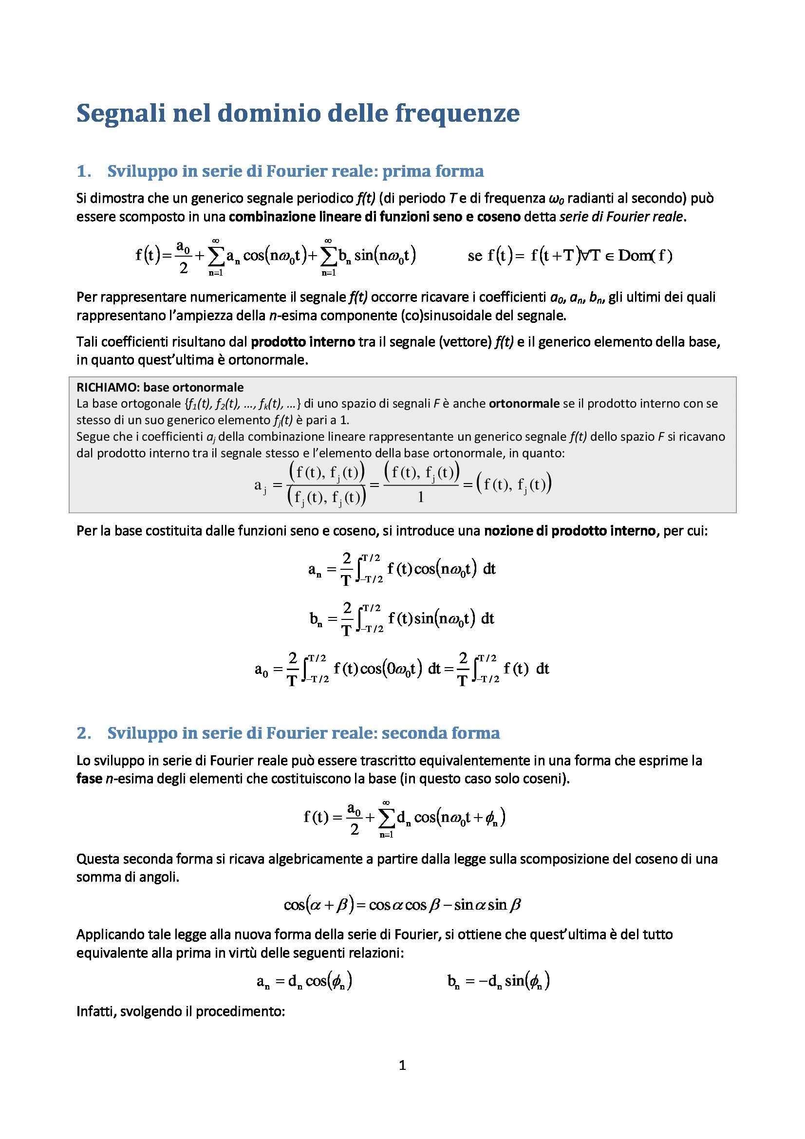 Elaborazione numerica dei segnali - Appunti