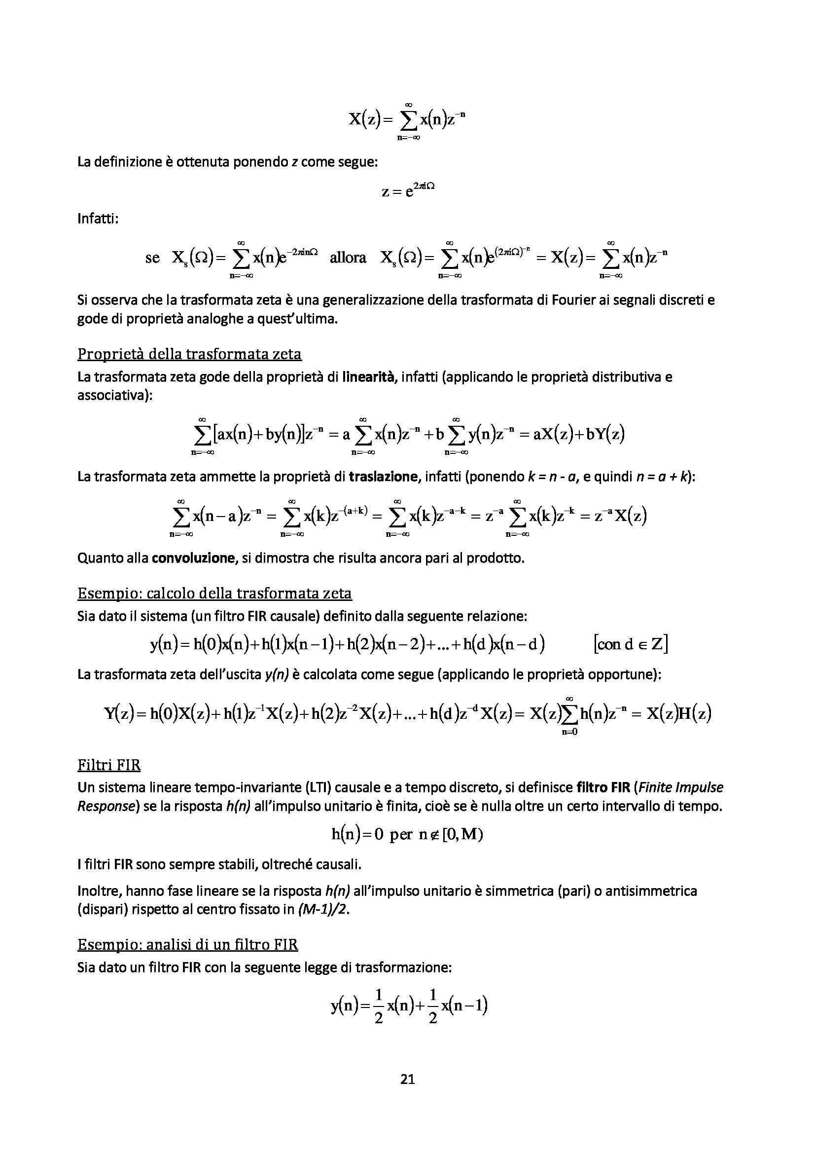 Elaborazione numerica dei segnali - Appunti Pag. 21