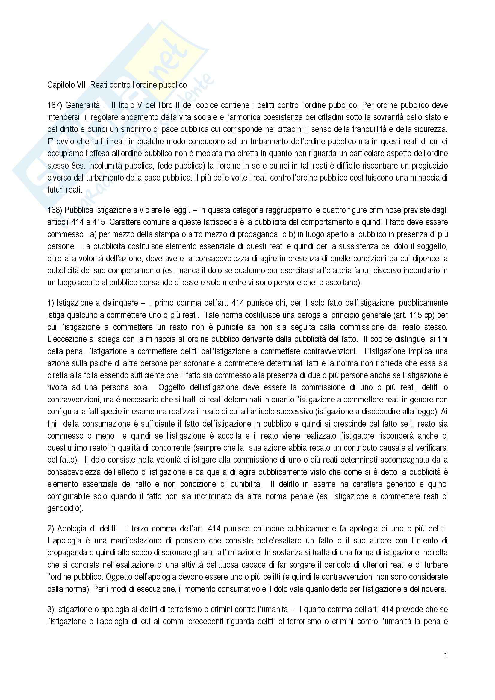 Riassunto esame Diritto Penale, prof. Fiorella, libro consigliato Delitti contro l'ordine pubblico, Antolisei