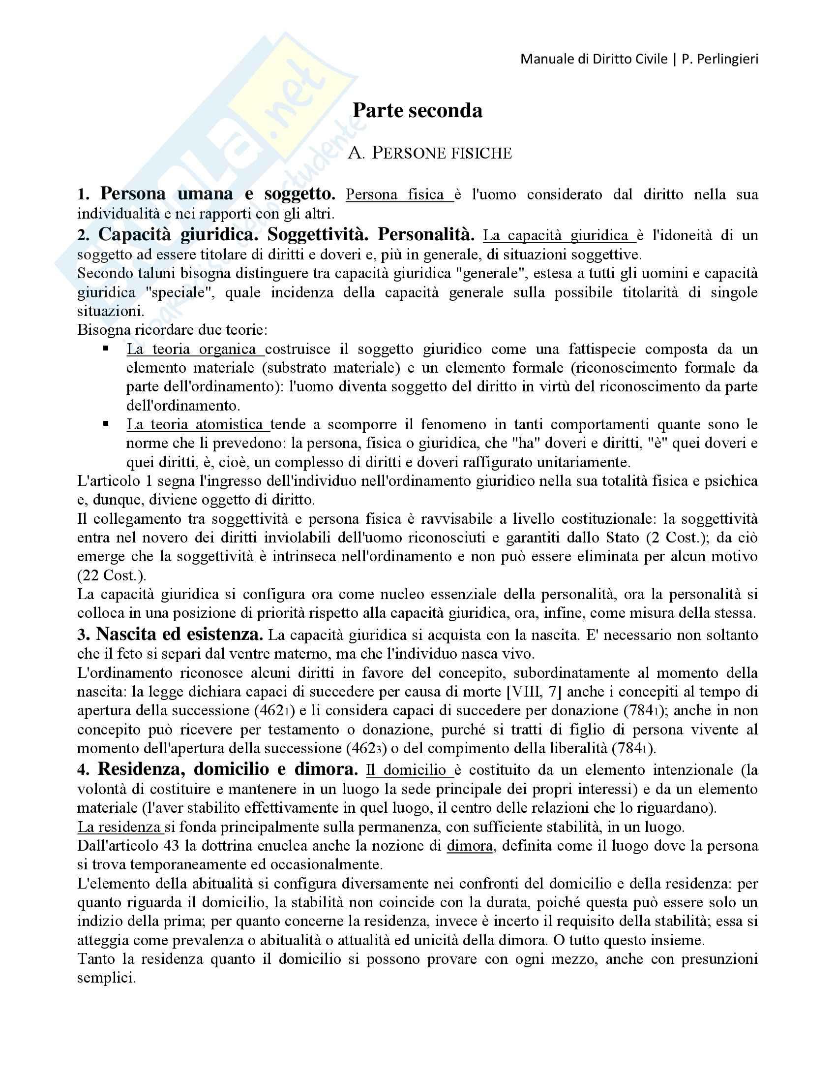 Manuale di Diritto Civile, Perlingieri - Persone fisiche e persone giuridiche