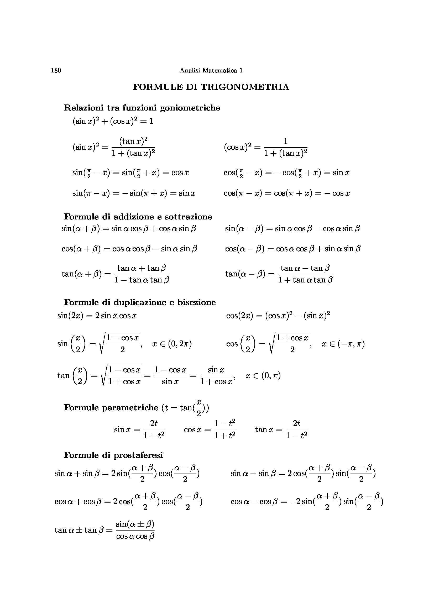 Formule analisi 1 Pag. 1