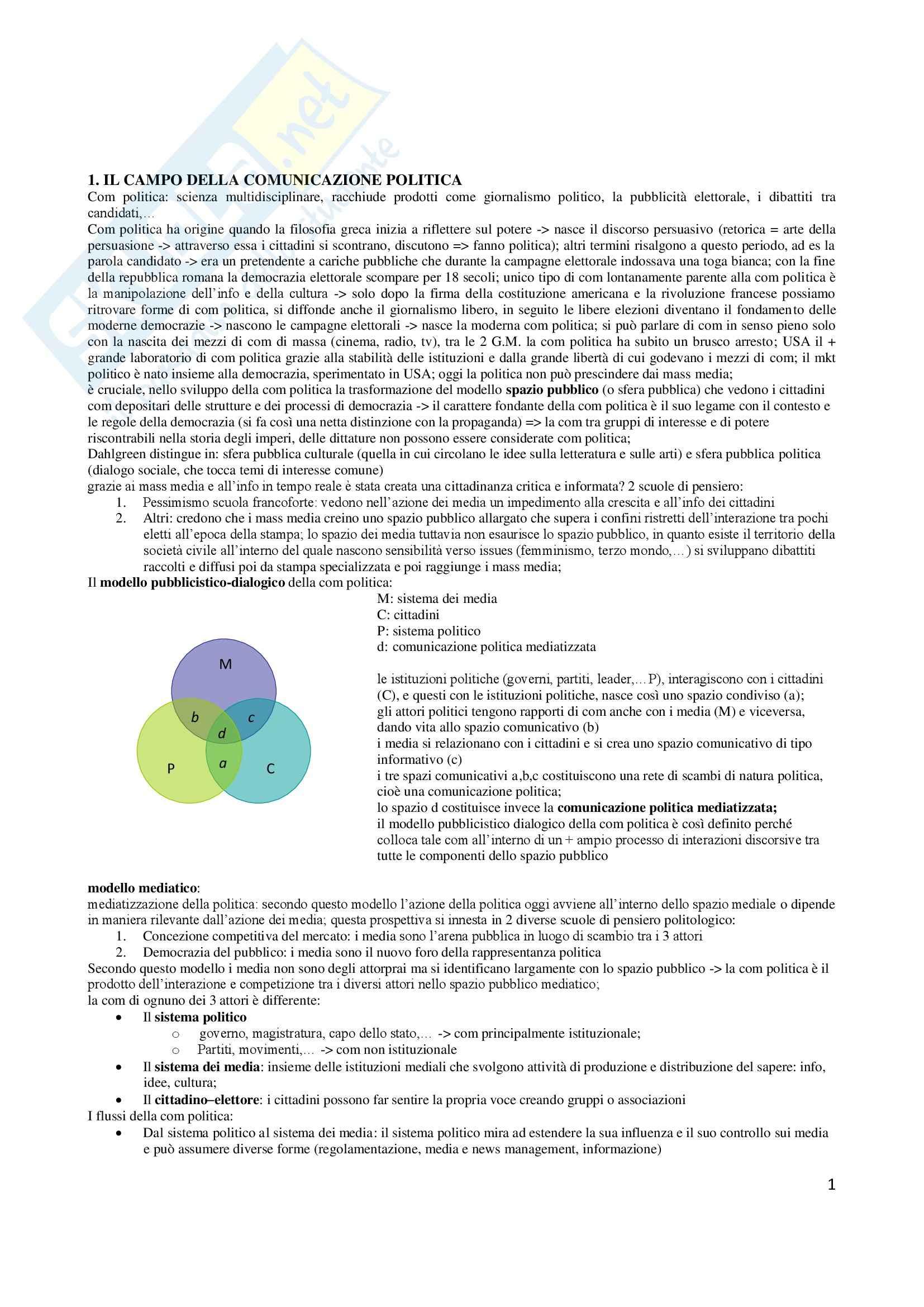 Riassunto esame Comunicazione politica, prof. Pinnarò, libro consigliato La comunicazione politica, Mazzoleni