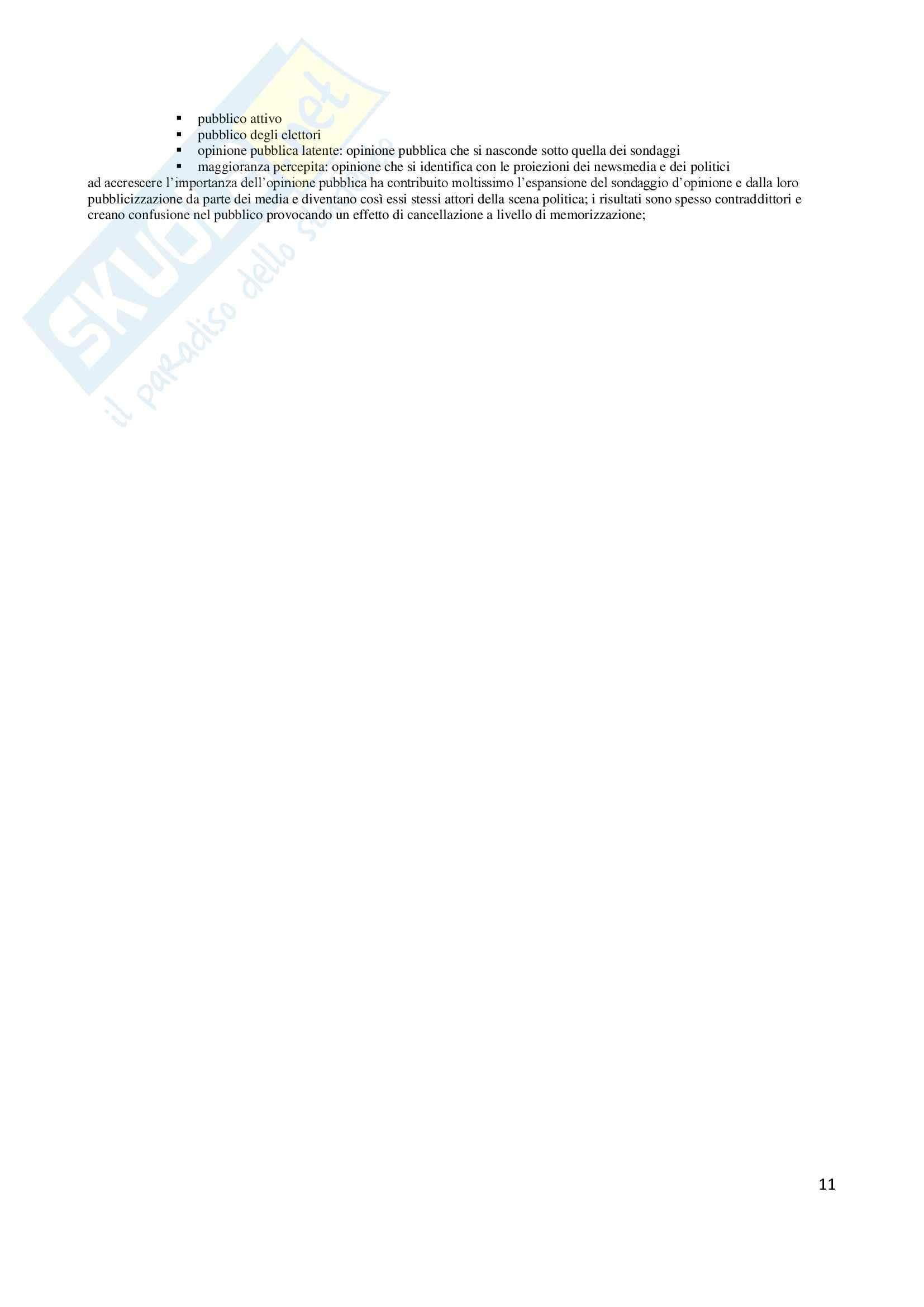 Riassunto esame Comunicazione politica, prof. Pinnarò, libro consigliato La comunicazione politica, Mazzoleni Pag. 11