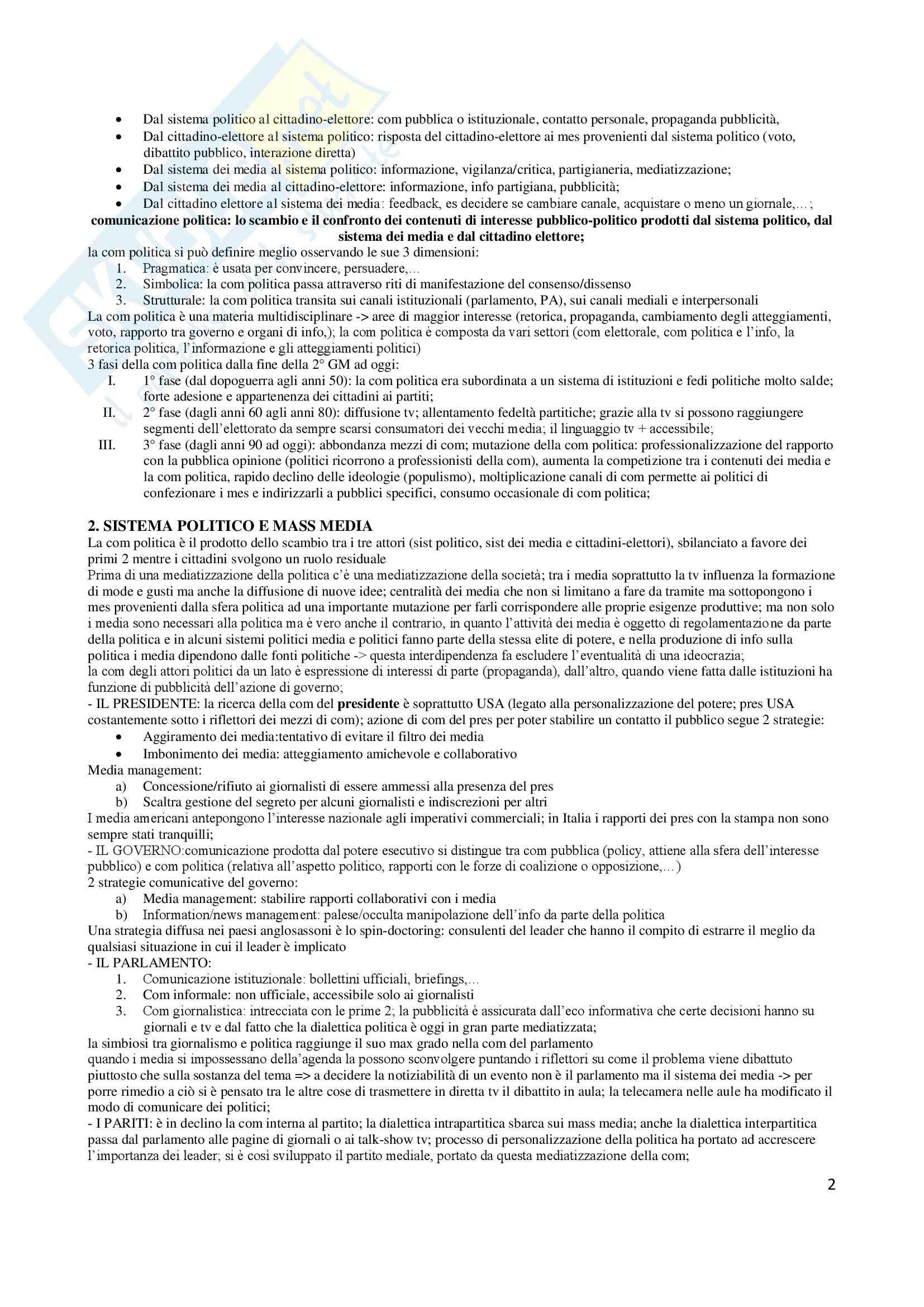 Riassunto esame Comunicazione politica, prof. Pinnarò, libro consigliato La comunicazione politica, Mazzoleni Pag. 2