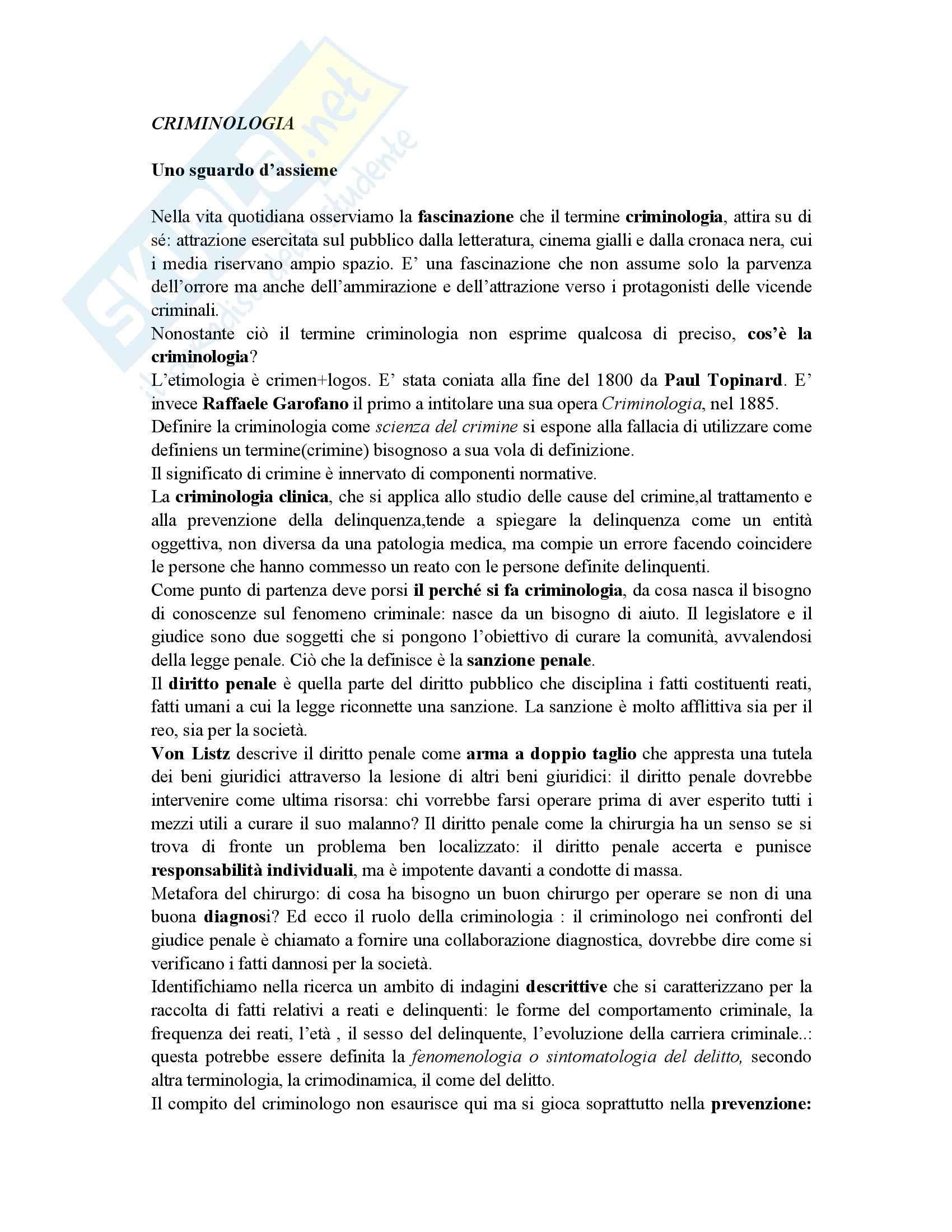 Riassunto esame Criminologia, prof. Forti, libro consigliato L'Immane Concretezza
