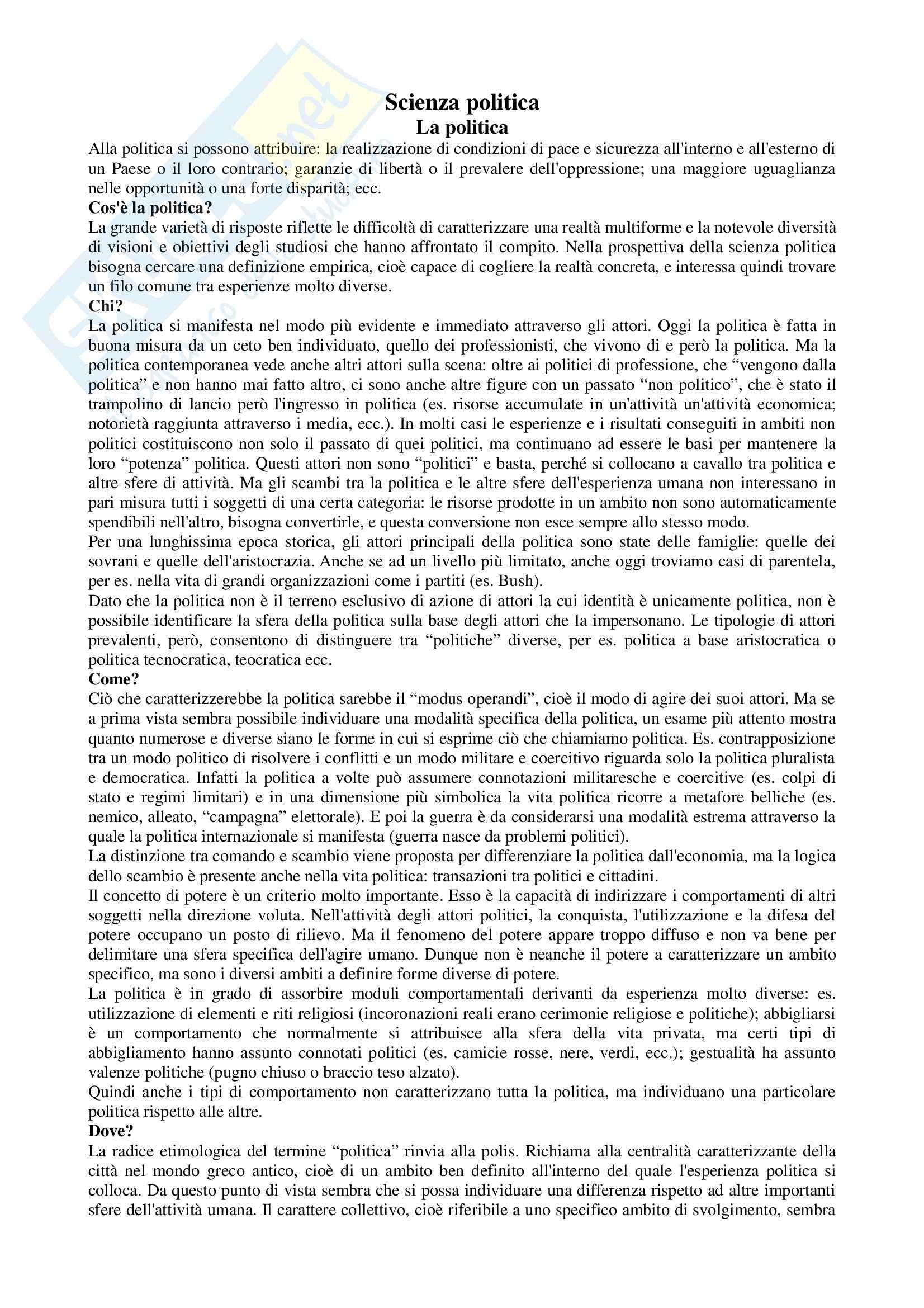 Riassunto esame Scienze Politica, prof. Nevola, libro consigliato La Scienza Politica, di Cotta, Della Porta, Morlino