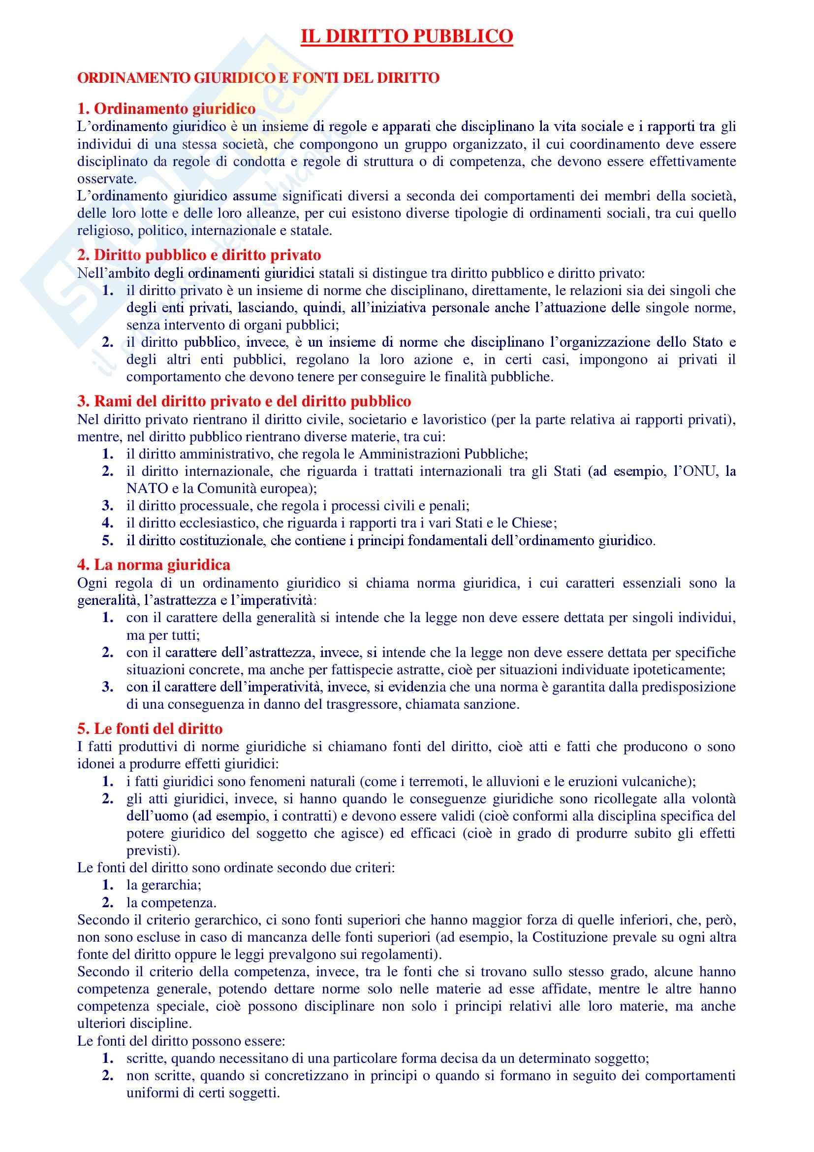 Riassunto esame Istituzioni di Diritto Pubblico, libro adottato Manuale di Diritto Pubblico, Rossano