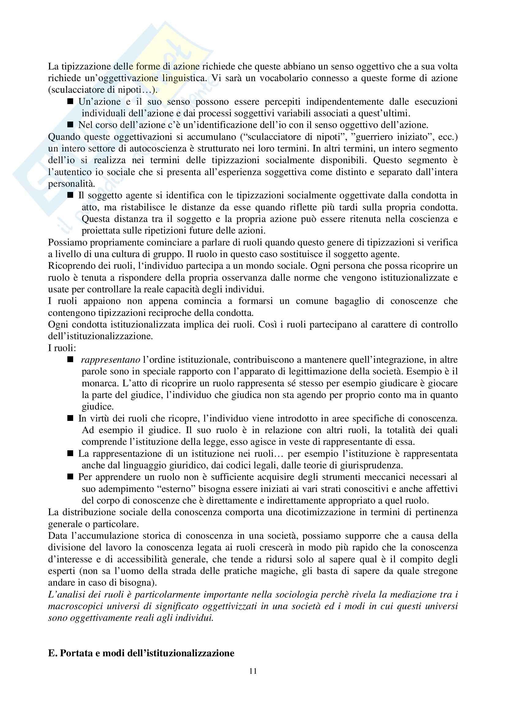 Riassunto esame Sociologia Generale, prof. Perna, libro consigliato La Realtà come Costruzione Sociale, Berger, Luckmann Pag. 11