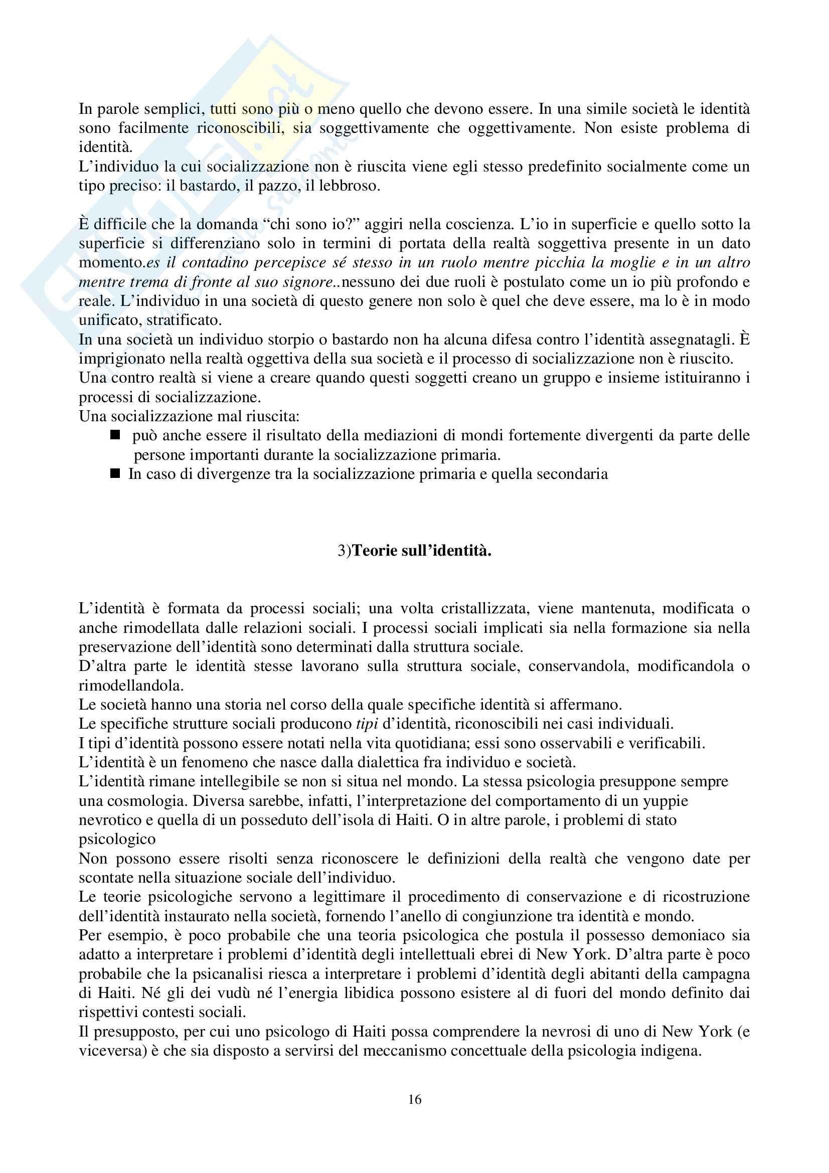 Riassunto esame Sociologia Generale, prof. Perna, libro consigliato La Realtà come Costruzione Sociale, Berger, Luckmann Pag. 16