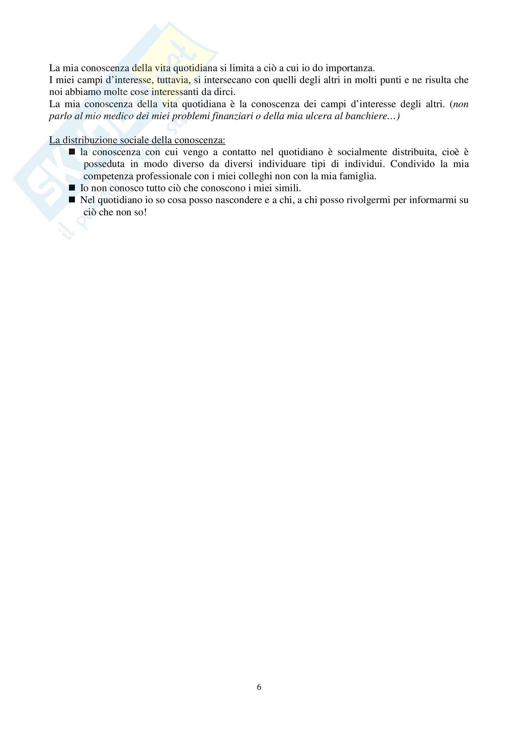 Riassunto esame Sociologia Generale, prof. Perna, libro consigliato La Realtà come Costruzione Sociale, Berger, Luckmann Pag. 6