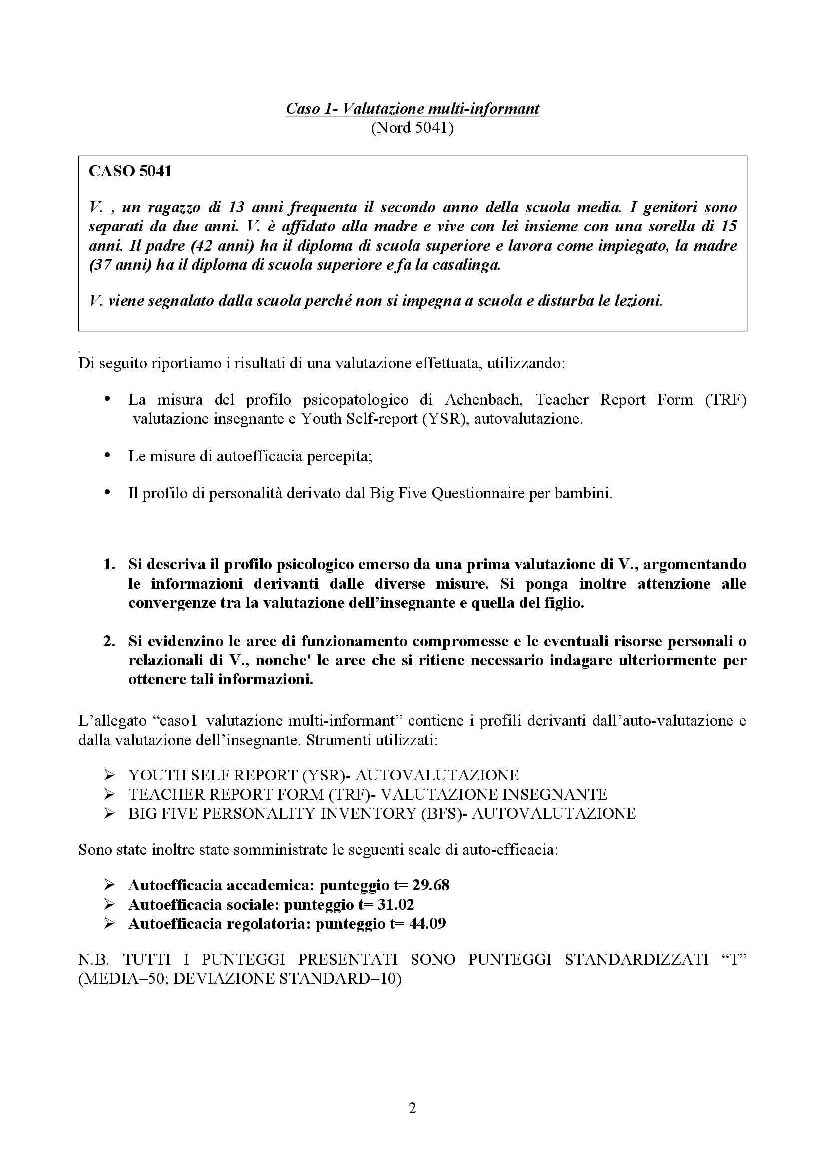 Personalità e Assessment - caso singolo di personalità e assessment Pag. 2
