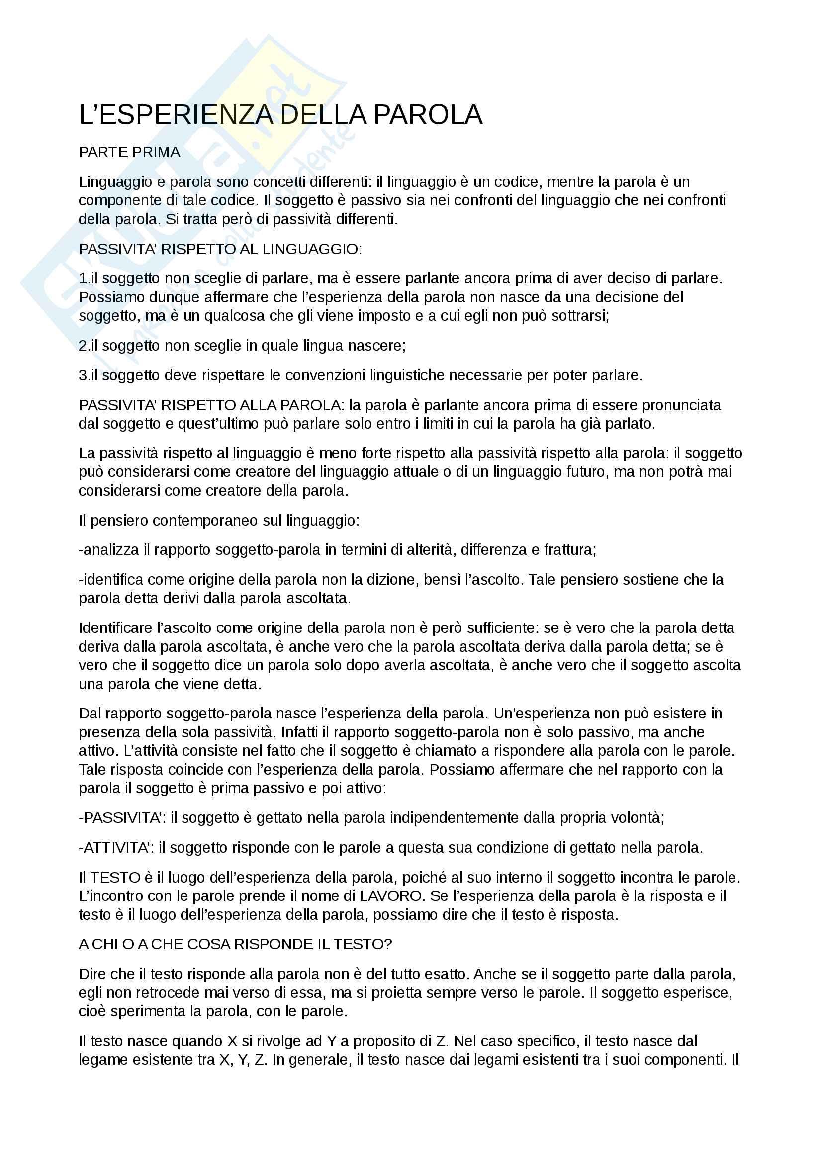 Riassunto esame di teorie della comunicazione, prof. Silvano Petrosino, libro consigliato L'esperienza della parola. Testo, moralità e scrittura, 2008, S.Petrosino