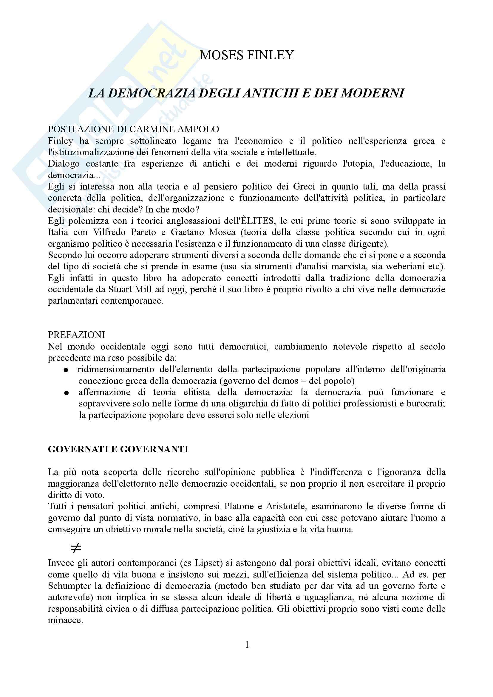 Riassunto esame letteratura Greca, docente Catenacci, libro consigliato La democrazia degli antichi e dei moderni, Finley