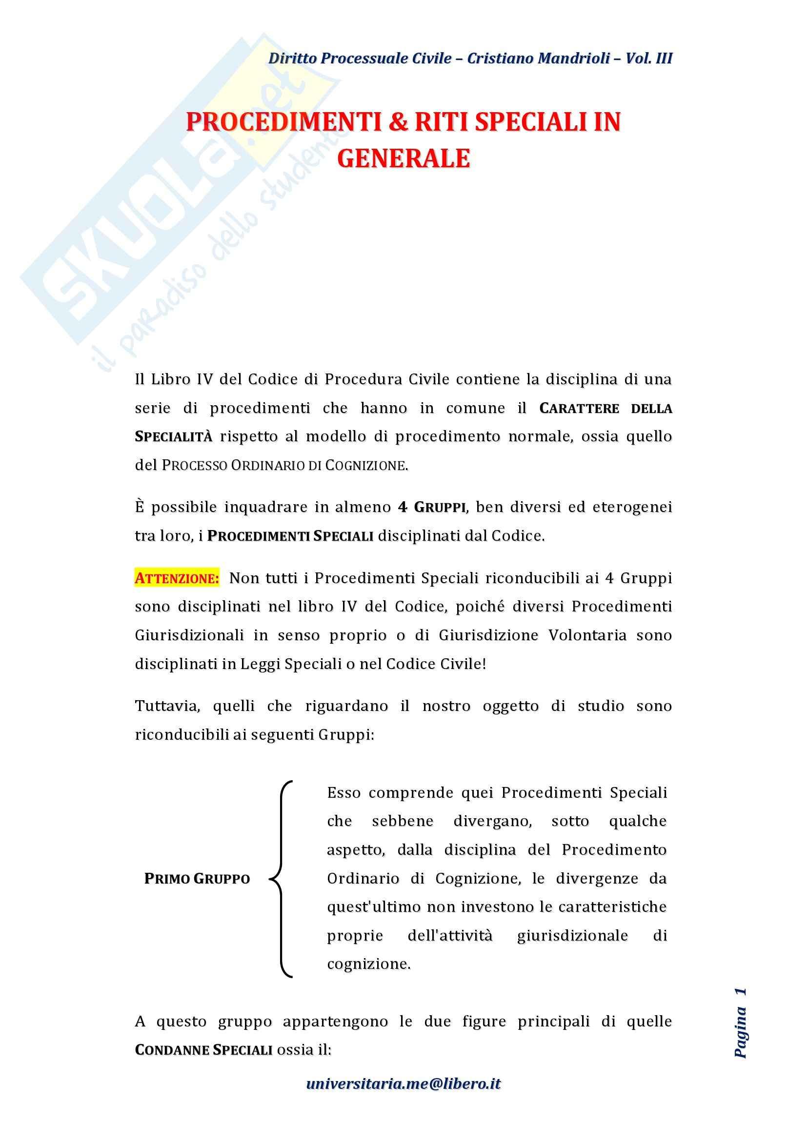 Riassunto esame Diritto Processuale Civile II, Prof. Rampazzi, libro consigliato Diritto processuale civile, Mandrioli, Vol. III