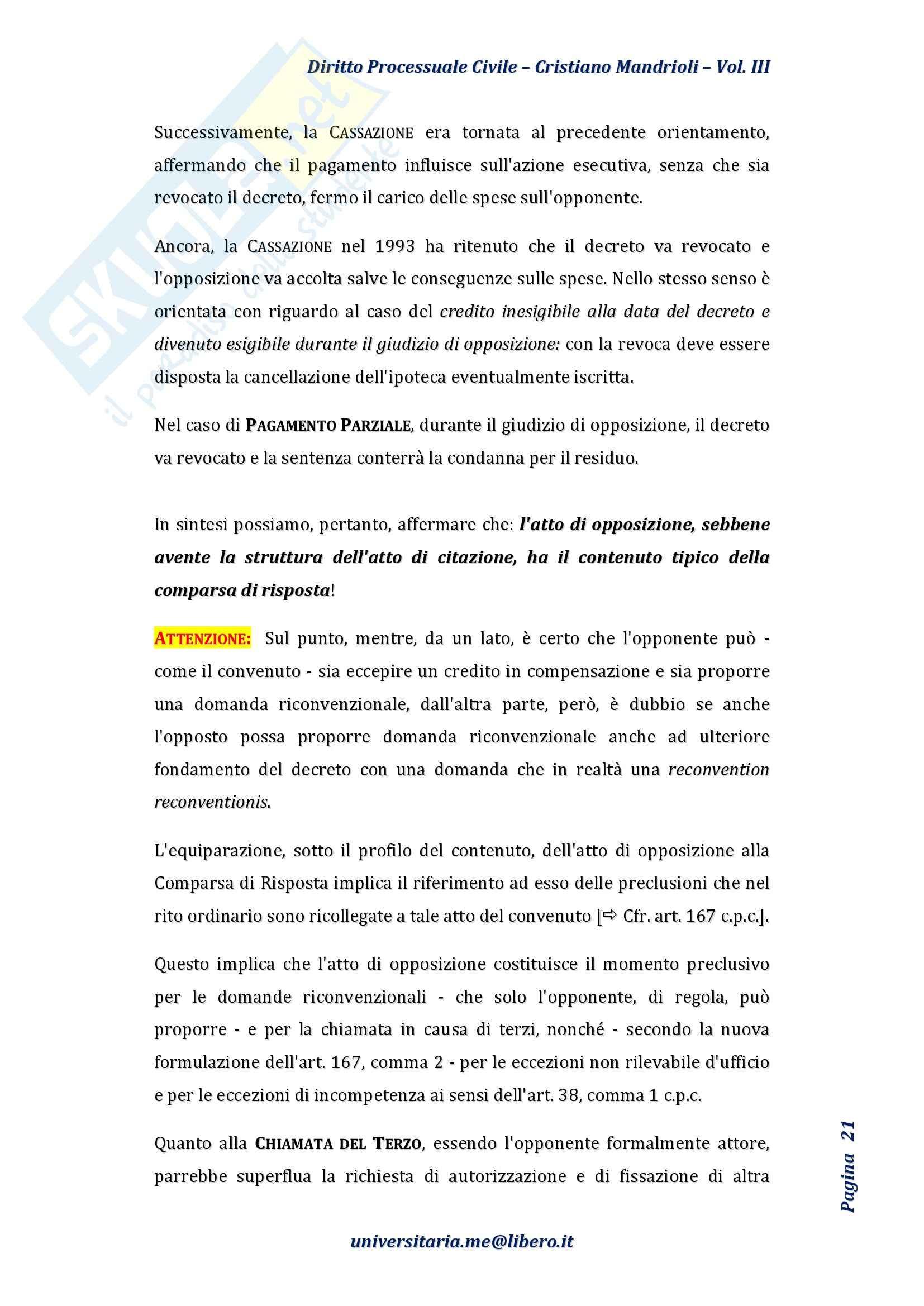 Riassunto esame Diritto Processuale Civile II, Prof. Rampazzi, libro consigliato Diritto processuale civile, Mandrioli, Vol. III Pag. 21