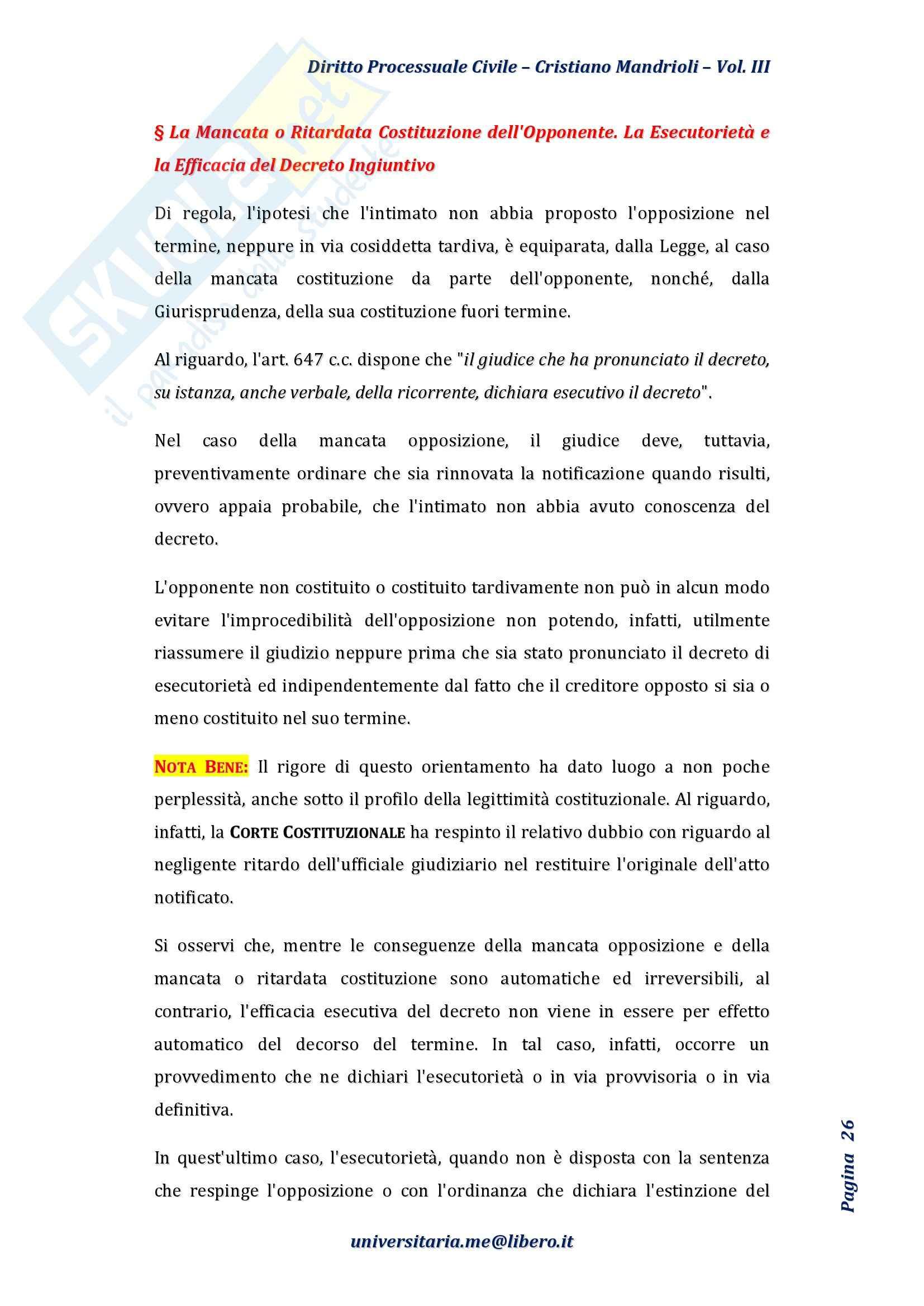 Riassunto esame Diritto Processuale Civile II, Prof. Rampazzi, libro consigliato Diritto processuale civile, Mandrioli, Vol. III Pag. 26