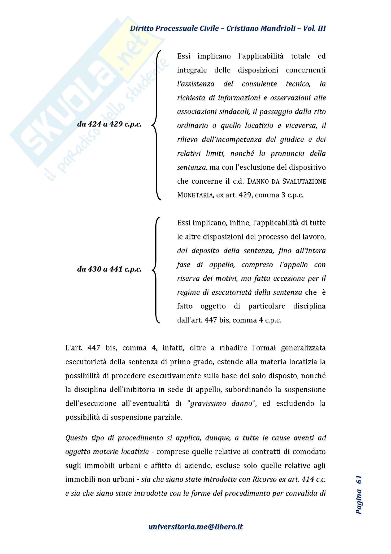 Riassunto esame Diritto Processuale Civile II, Prof. Rampazzi, libro consigliato Diritto processuale civile, Mandrioli, Vol. III Pag. 61