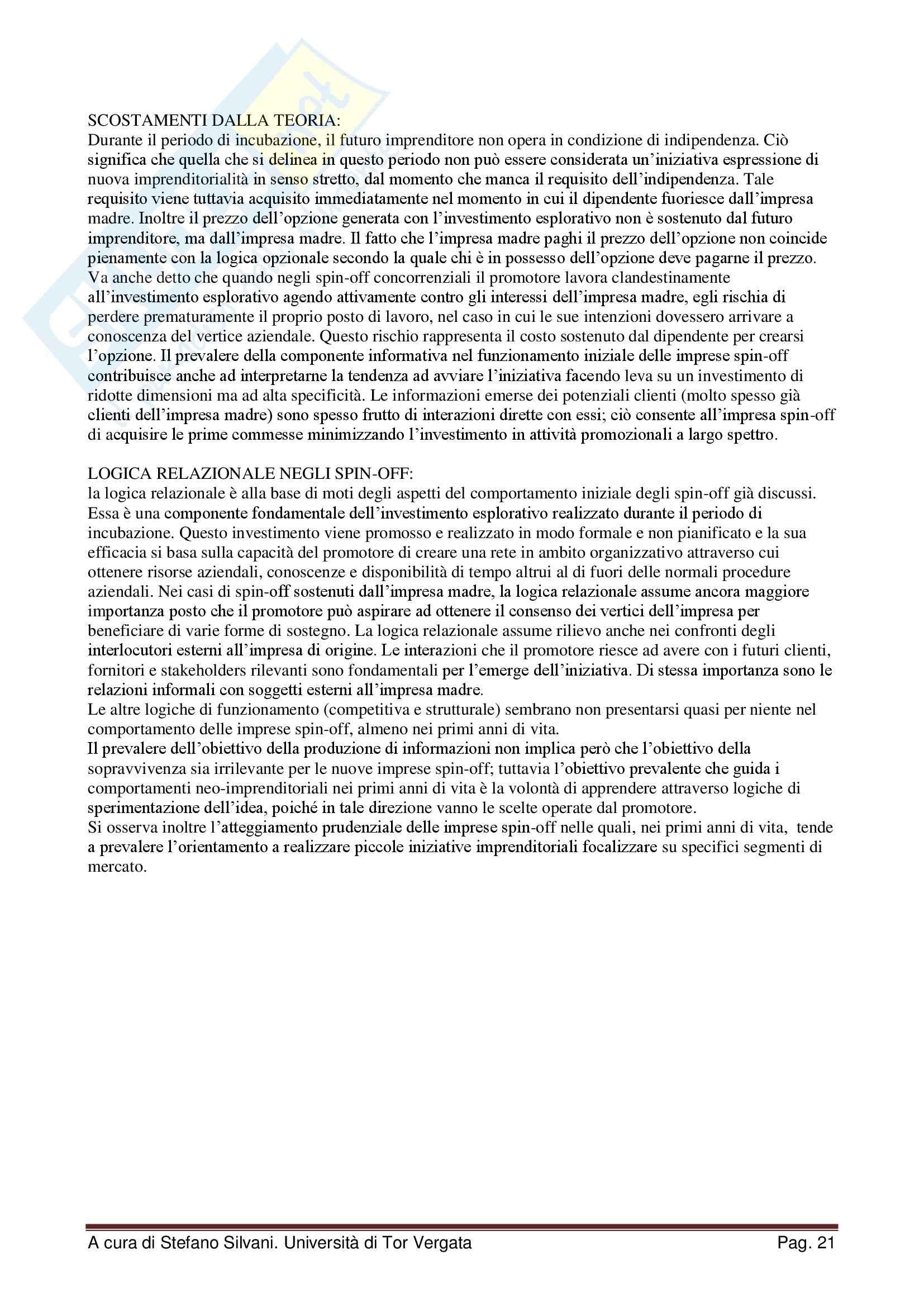 Riassunto esame Creazione d'impresa e imprenditorialità minore, prof. Scafarto, libro consigliato Le nuove imprese, Sorrentino Pag. 21