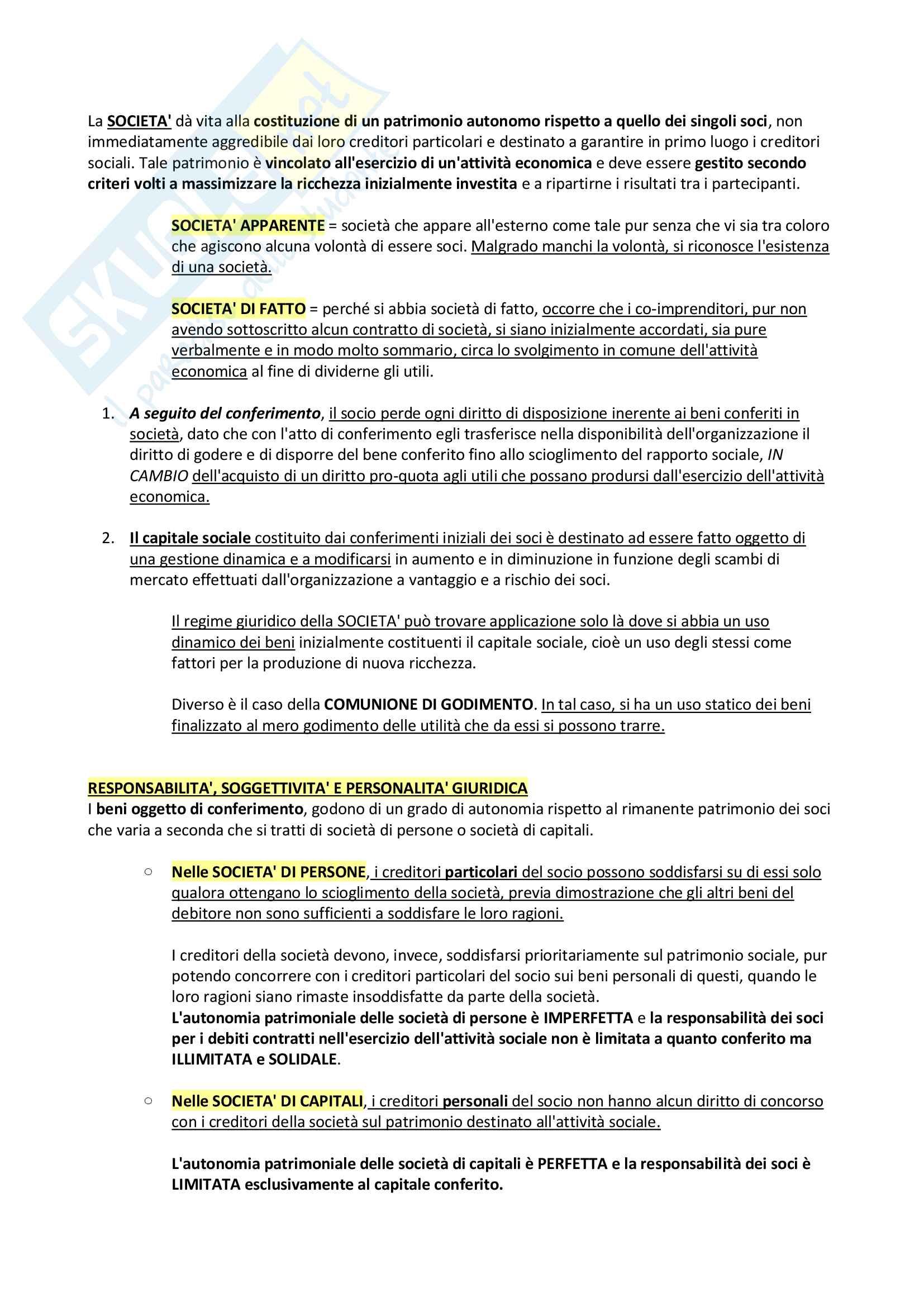 Riassunto + appunti di diritto delle società Pag. 2