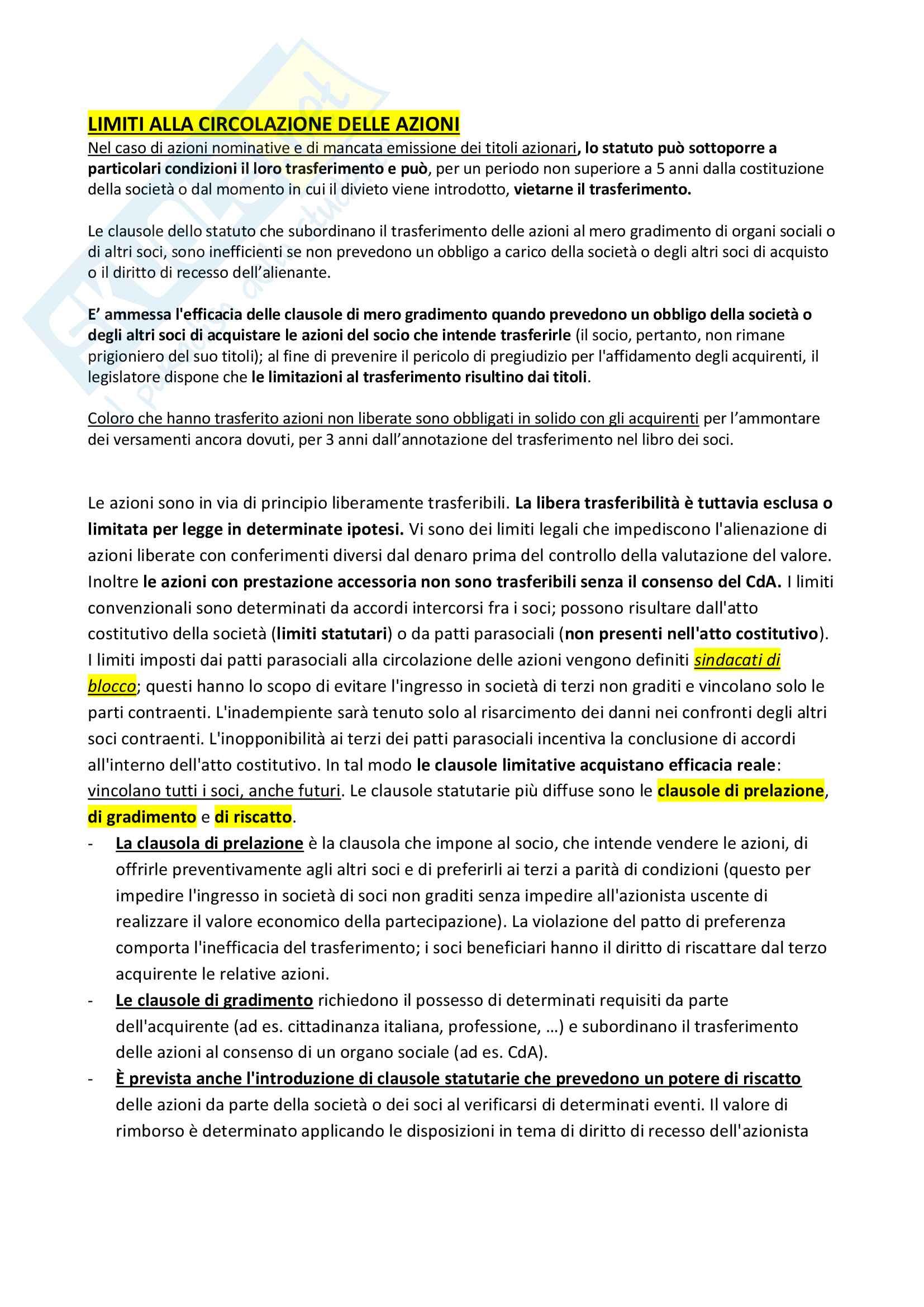 Riassunto + appunti di diritto delle società Pag. 26