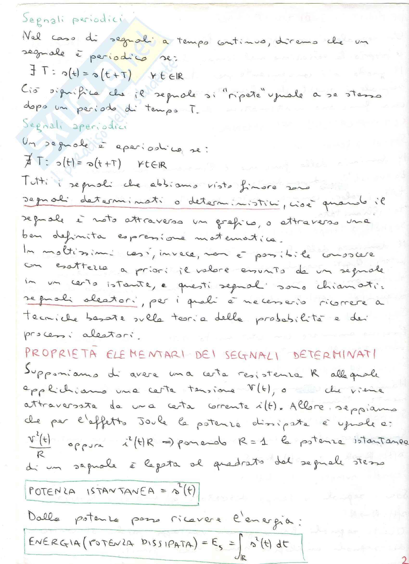 Teoria dei segnali - comunicazioni elettriche Pag. 2