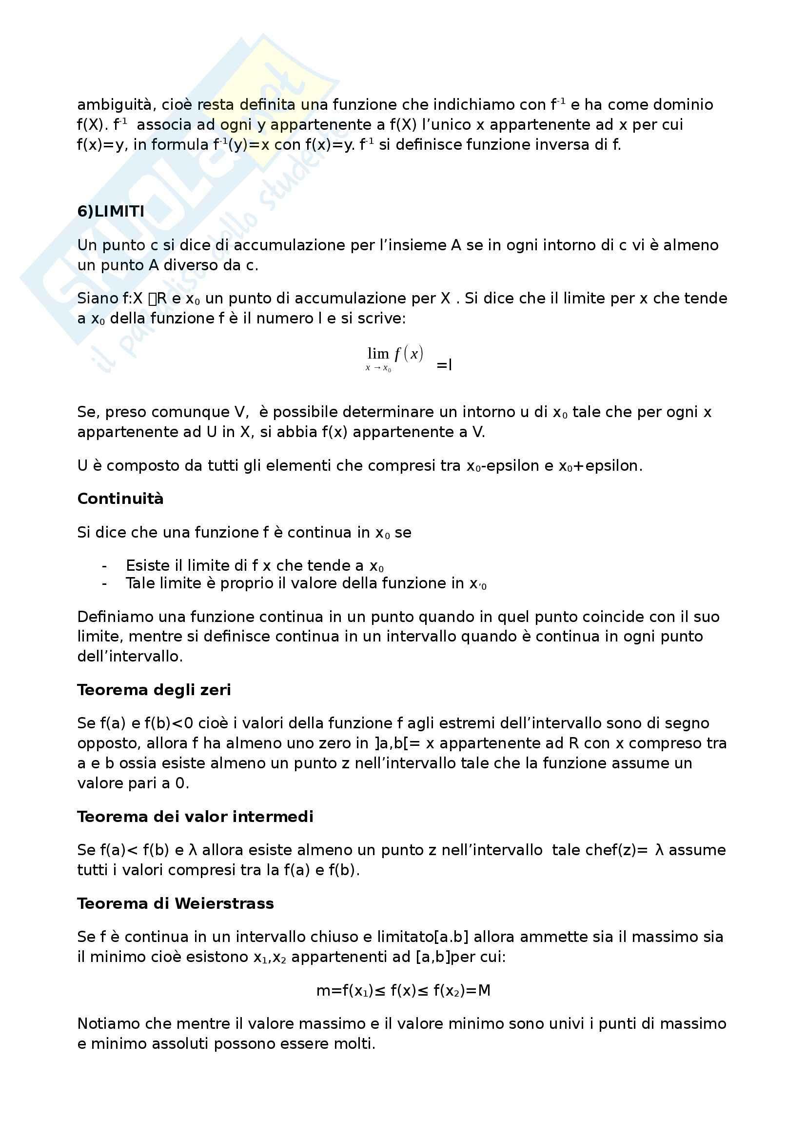 Riassunto esame Matematica Generale, prof. De Sanctis Pag. 6
