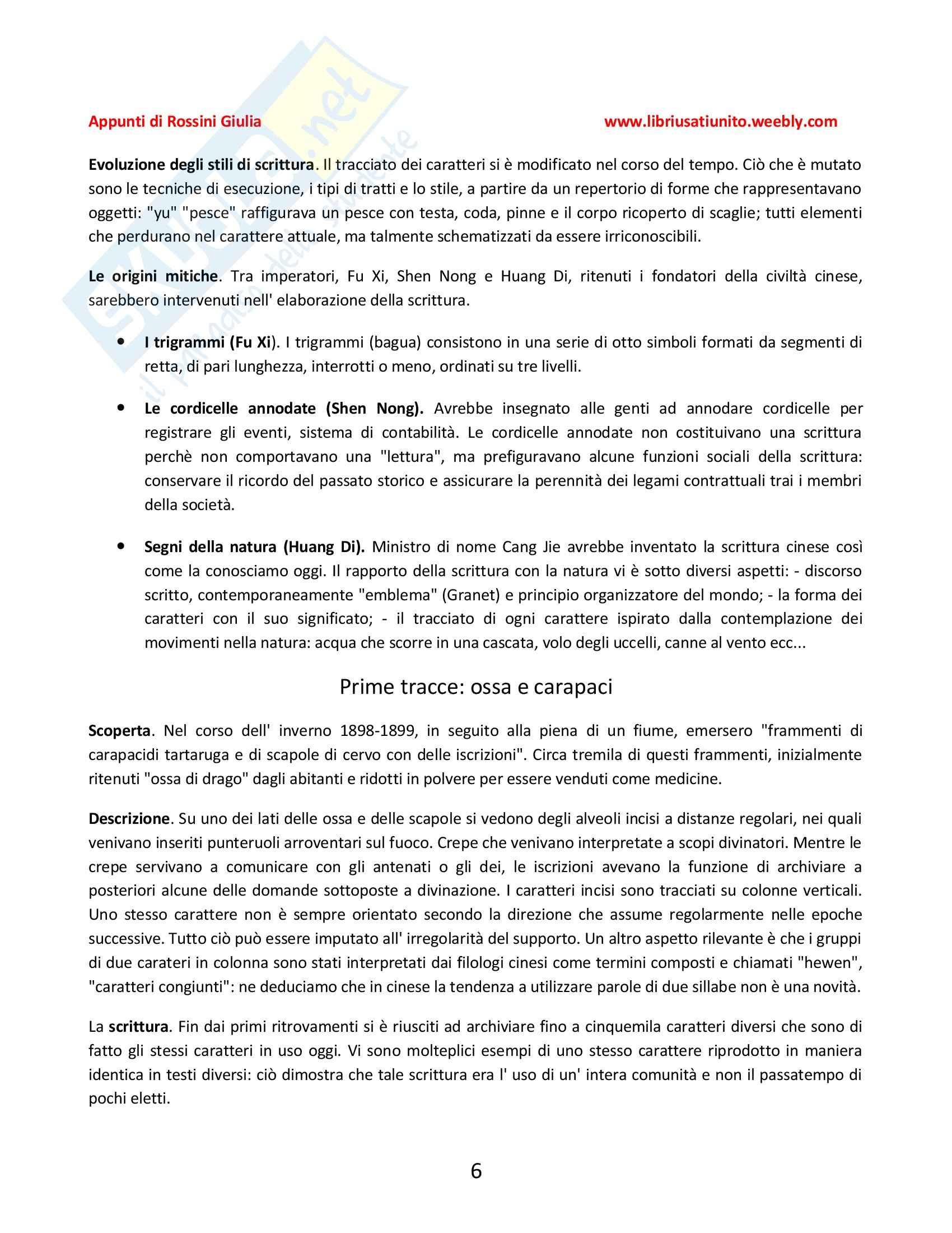 La scrittura cinese, Alleton - Riassunto esame Pag. 6