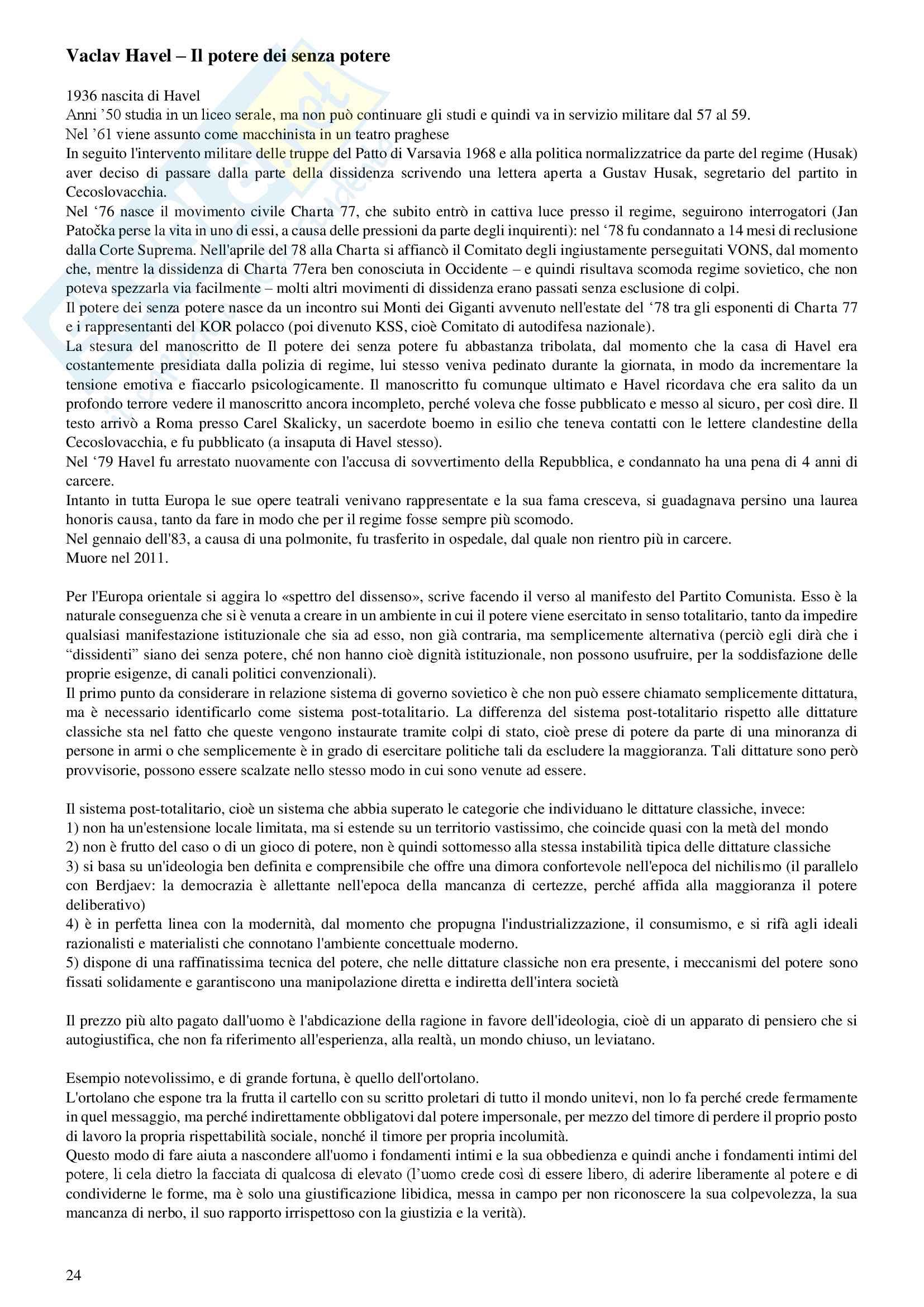 Sunto e appunti di filosofia dell'economia, prof. G. Fidelibus, testi consigliati: di N. Berdjaev - Lettere ai miei nemici e di Vaclav Havel - Il potere dei senza potere Pag. 26