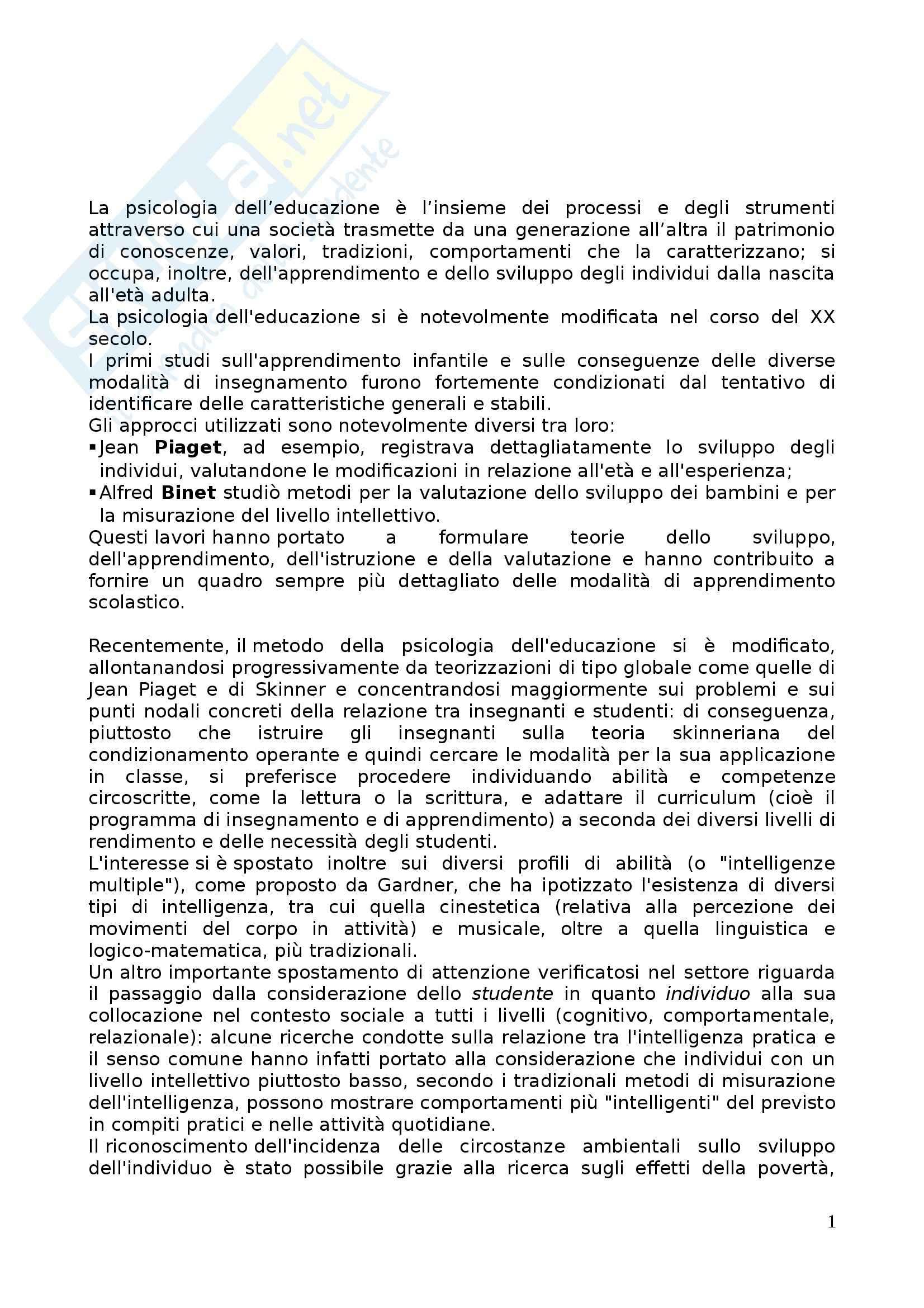 Riassunto esame Psicologia dell'Educazione, prof. Gulì, libro consigliato Psicologia dell'Educazione, Carugati Selleri