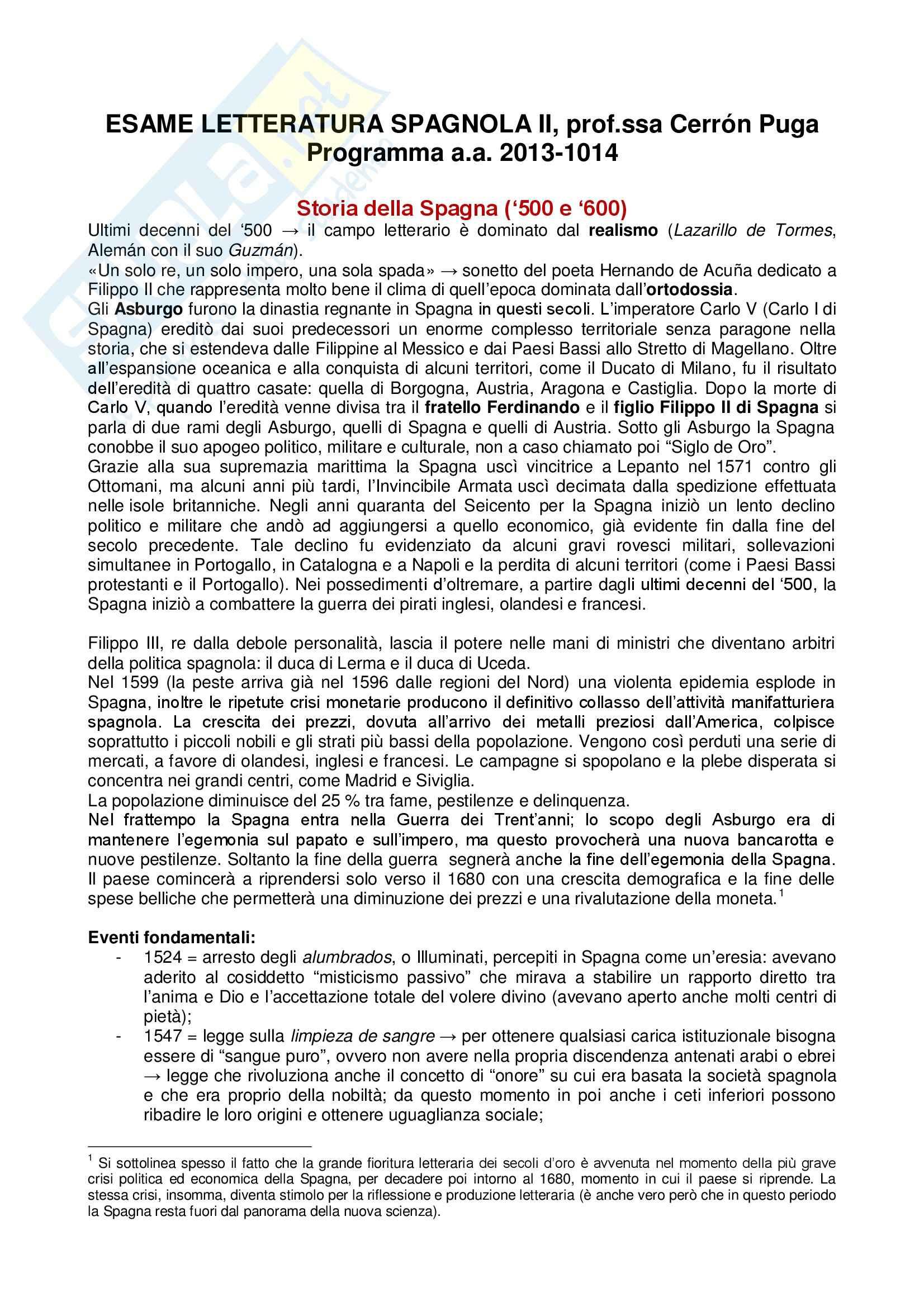 Romanzi: Appunti di Letteratura spagnola