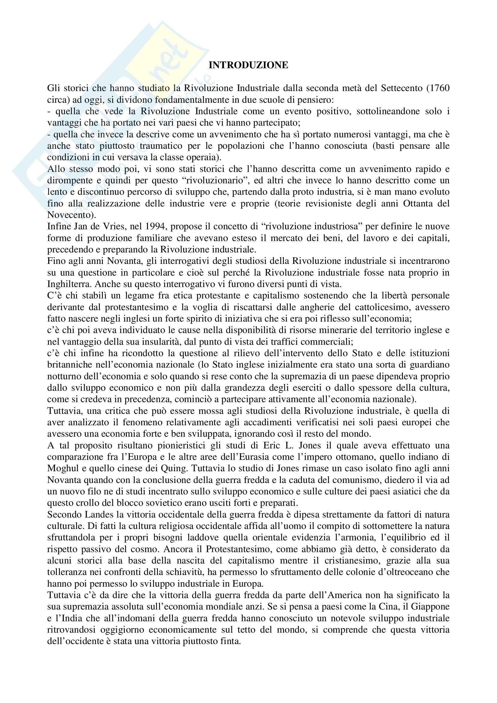 Riassunto esame Storia dell'Industria, prof. Rosolino, libro consigliato La Rivoluzione Industriale tra l'Europa e il Mondo, Detti, Gozzini