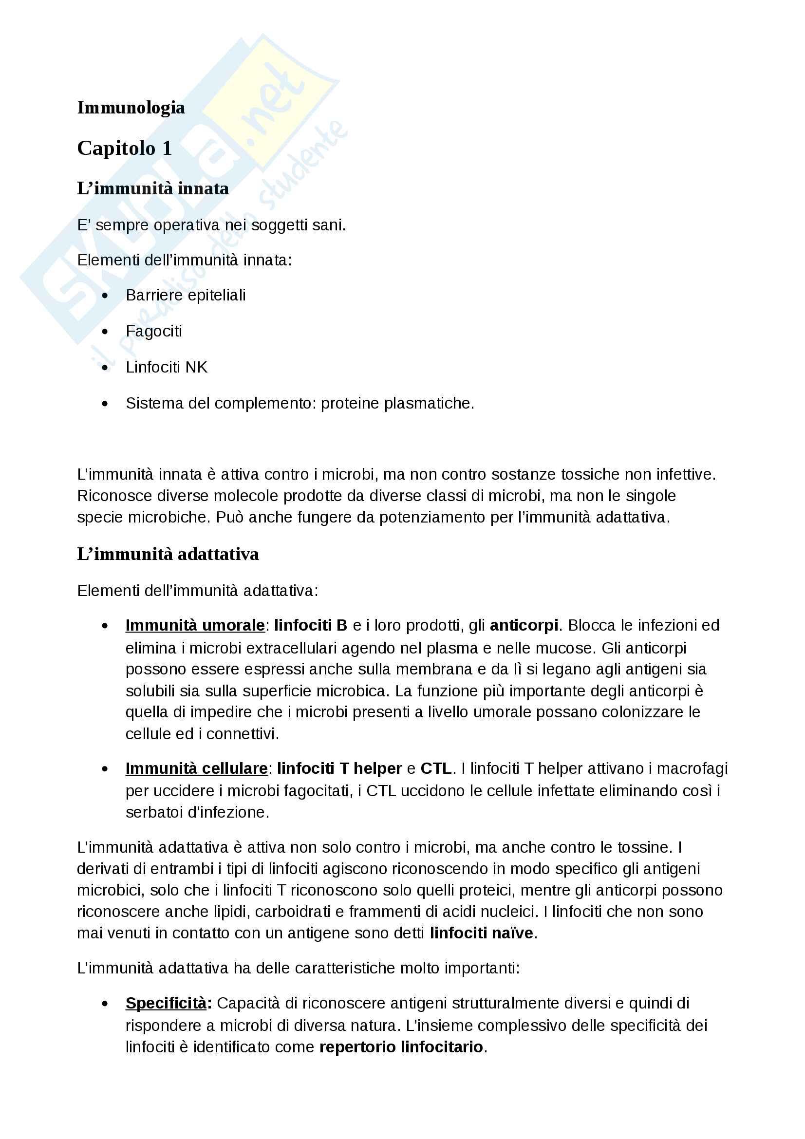 Appunti di immunologia Unimi