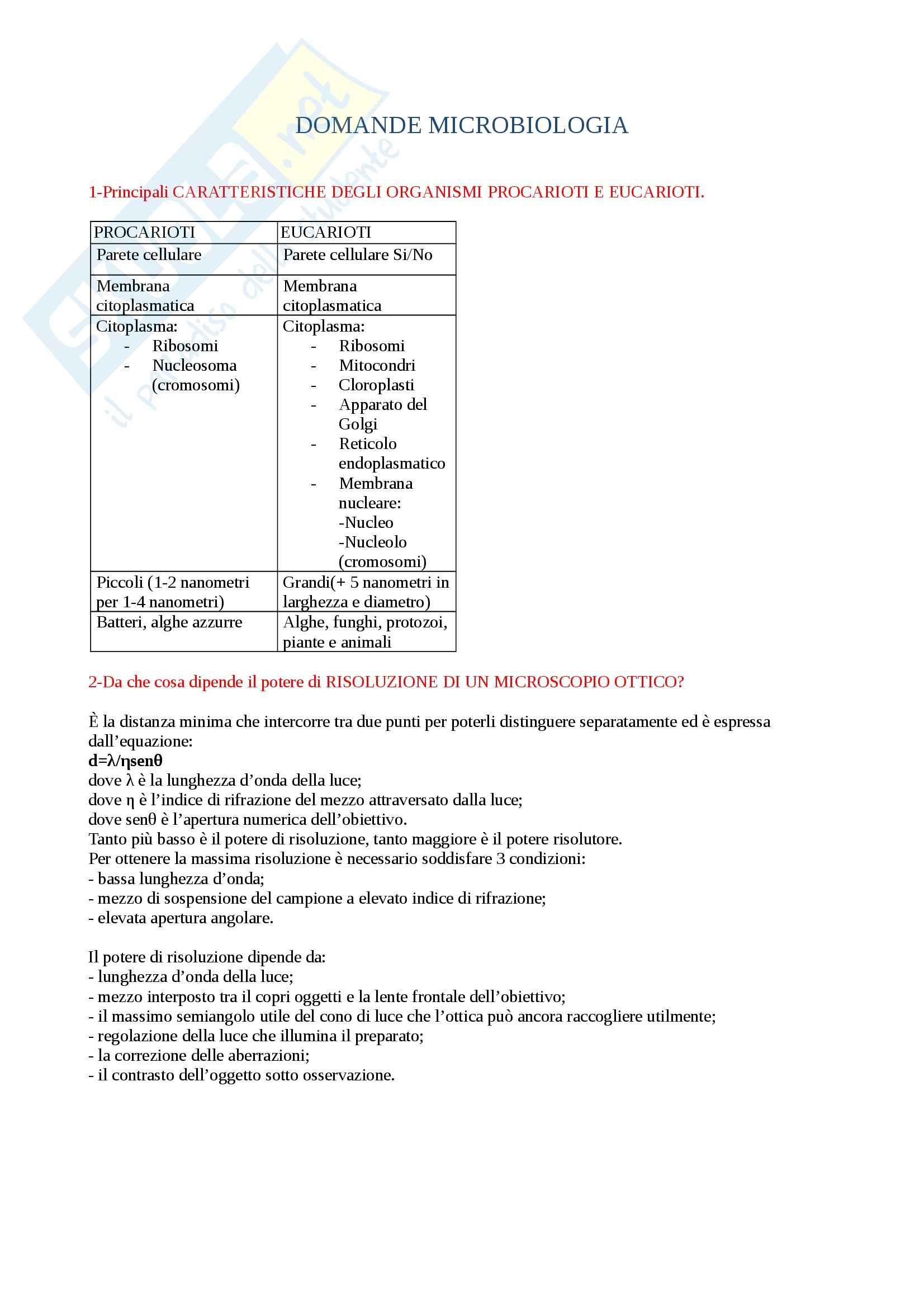 Microbiologia agraria - Domande