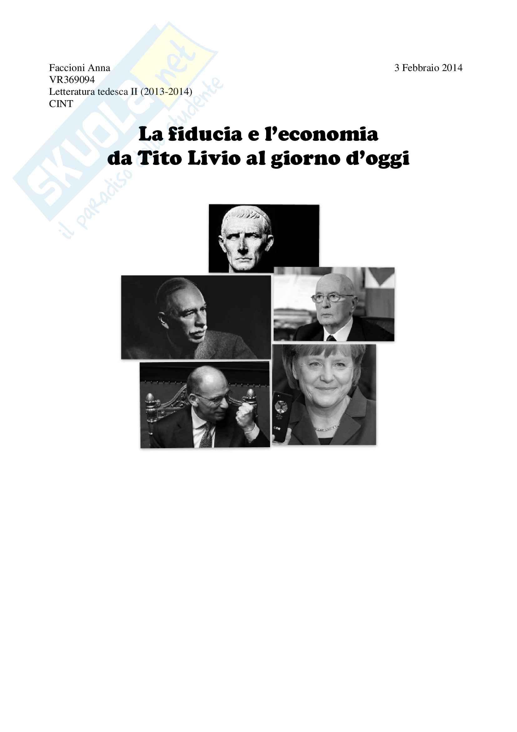 """Tesina """"La fiducia e l'economia: da Tito Livio al giorno d'oggi"""" letteratura tedesca"""