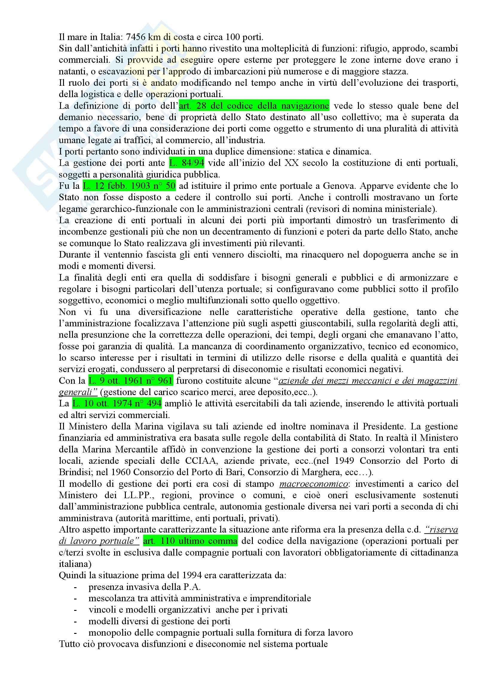Riassunto esame Diritto della Navigazione, prof. Tullio, libro consigliato Autorità Portuali, Nisio