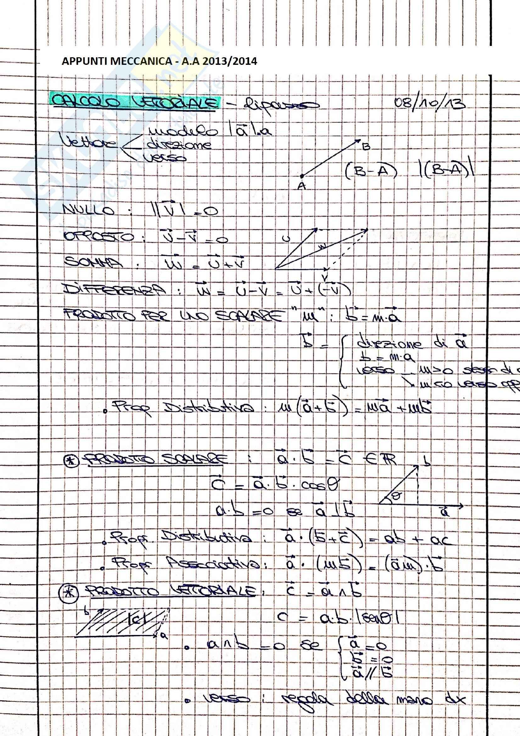 Meccanica - Appunti completi ed esercitazioni