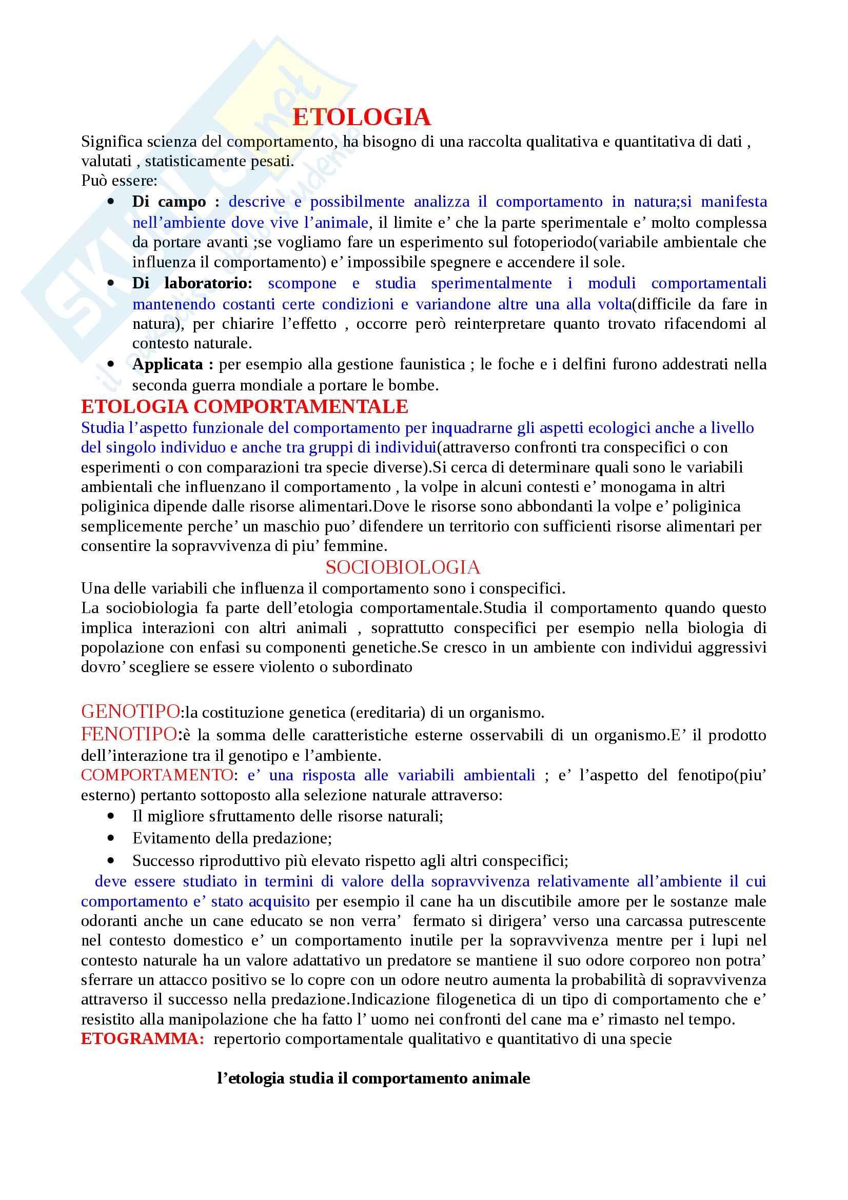 Etologia - Appunti