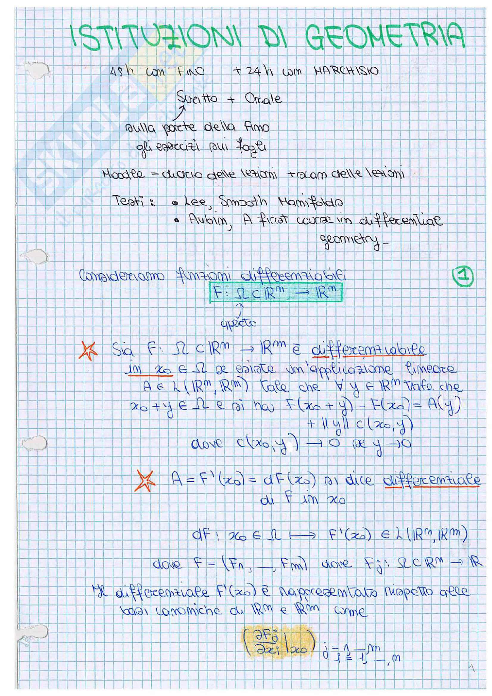 Istituzioni di Geometria - appunti ed esercitazioni