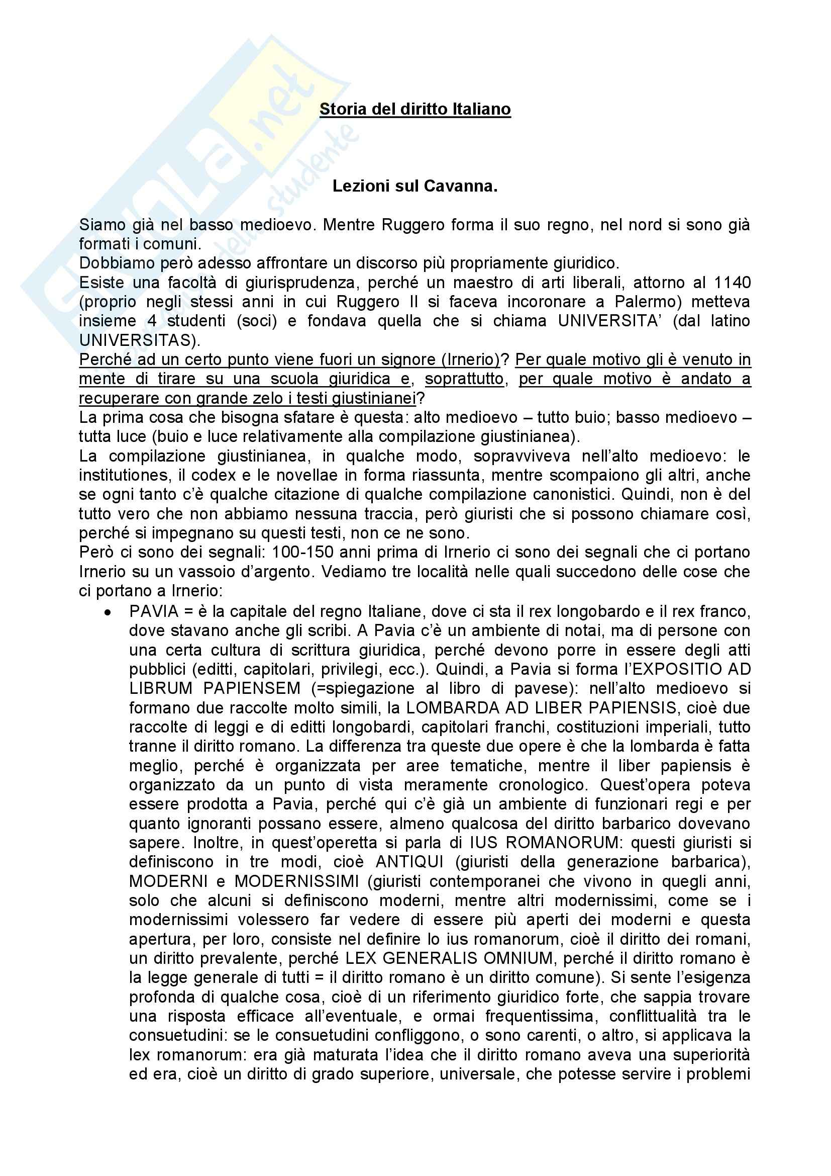Riassunto esame Storia del Diritto Medievale, prof. Marchetti, libro consigliato Storia del Diritto Moderno in Europa, Cavanna