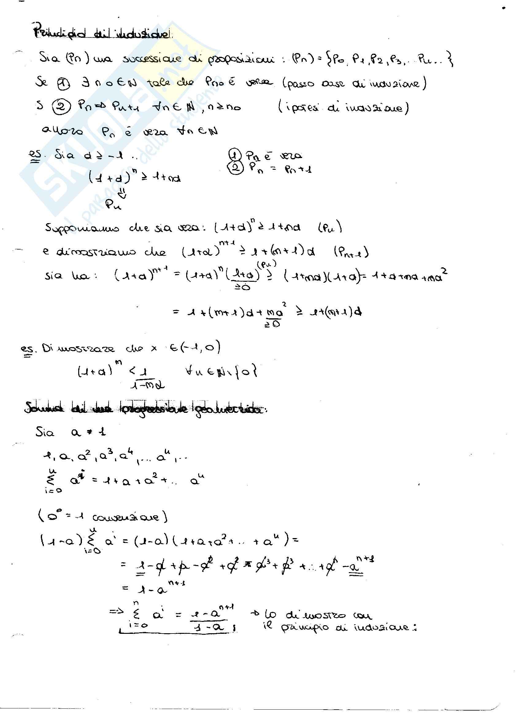 Principio di induzione e derivate: Appunti di Analisi matematica