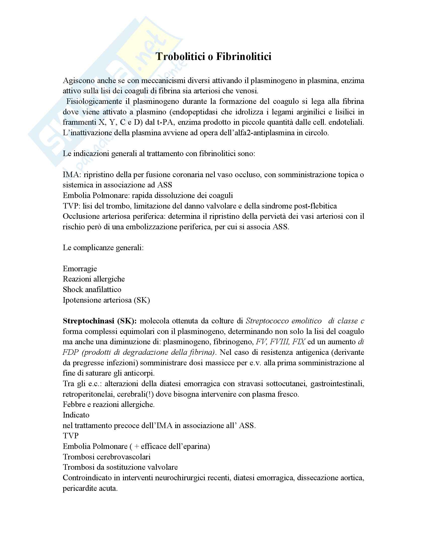 Farmacologia - trombolitici e fibrinolitici - Appunti