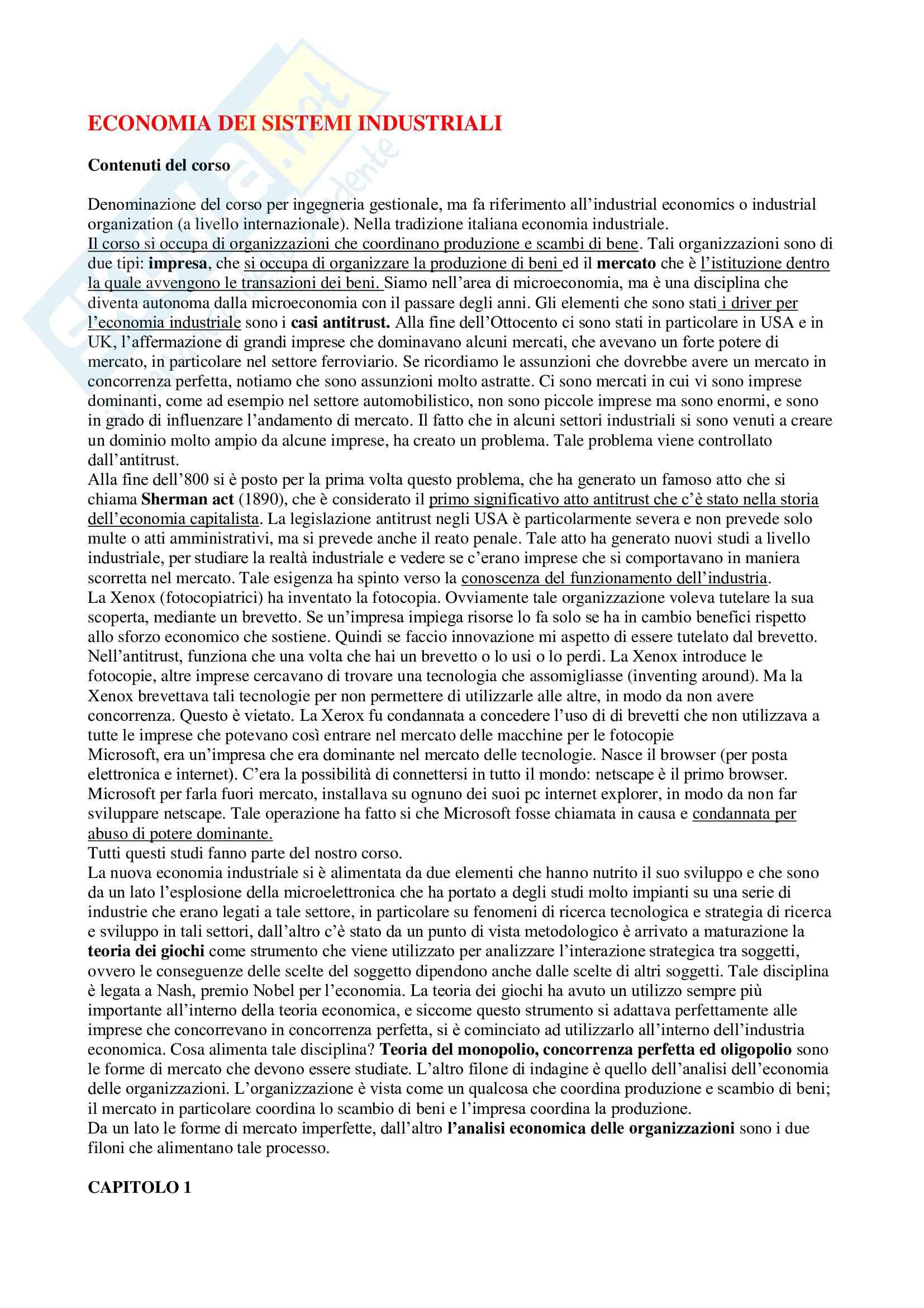Appunti di Economia dei sistemi industriali, prof. Reverberi e Nastasi